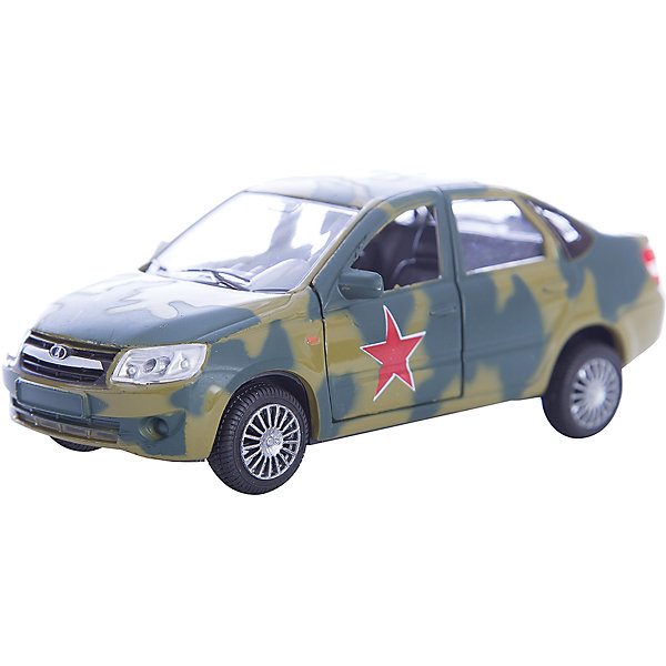 Машинка Lada Granta армейская 1:36, AutotimeМашинки<br>Характеристики товара:<br><br>• цвет: зеленый<br>• возраст: от 3 лет<br>• материал: металл, пластик<br>• размер: 16,5х7,х5,7 см<br>• вес: 100 г<br>• масштаб: 1:36<br>• колеса вращаются<br>• хорошая детализация<br>• открываются двери<br>• страна бренда: Россия<br>• страна производства: Китай<br><br>Коллекционная машинка LADA GRANTA армейская от бренда AUTOTIME станет отличным подарком для мальчика. Подробная детализация машинки порадует увлеченного коллекционера, а открывающиеся двери и свободно вращающиеся колеса придутся по душе юному владельцу игрушечного гаража. Эта игрушка подарит восторг и радость вашему ребенку. <br><br>Игрушка также воздействует на наглядно-образное мышление, логическое мышление, развивает мелкую моторику. Изделие выполнено из сертифицированных материалов, безопасных для детей.<br><br>Машинку «Lada Granta» армейская от бренда AUTOTIME можно купить в нашем интернет-магазине.<br>Ширина мм: 165; Глубина мм: 57; Высота мм: 75; Вес г: 13; Возраст от месяцев: 36; Возраст до месяцев: 2147483647; Пол: Мужской; Возраст: Детский; SKU: 5583891;