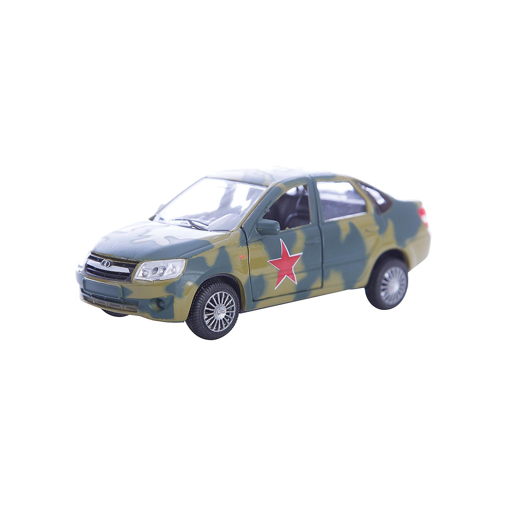 Машинка Lada Granta армейская 1:36, AutotimeМашинки<br>Характеристики товара:<br><br>• цвет: зеленый<br>• возраст: от 3 лет<br>• материал: металл, пластик<br>• размер: 16,5х7,х5,7 см<br>• вес: 100 г<br>• масштаб: 1:36<br>• колеса вращаются<br>• хорошая детализация<br>• открываются двери<br>• страна бренда: Россия<br>• страна производства: Китай<br><br>Коллекционная машинка LADA GRANTA армейская от бренда AUTOTIME станет отличным подарком для мальчика. Подробная детализация машинки порадует увлеченного коллекционера, а открывающиеся двери и свободно вращающиеся колеса придутся по душе юному владельцу игрушечного гаража. Эта игрушка подарит восторг и радость вашему ребенку. <br><br>Игрушка также воздействует на наглядно-образное мышление, логическое мышление, развивает мелкую моторику. Изделие выполнено из сертифицированных материалов, безопасных для детей.<br><br>Машинку «Lada Granta» армейская от бренда AUTOTIME можно купить в нашем интернет-магазине.<br><br>Ширина мм: 165<br>Глубина мм: 57<br>Высота мм: 75<br>Вес г: 13<br>Возраст от месяцев: 36<br>Возраст до месяцев: 2147483647<br>Пол: Мужской<br>Возраст: Детский<br>SKU: 5583891