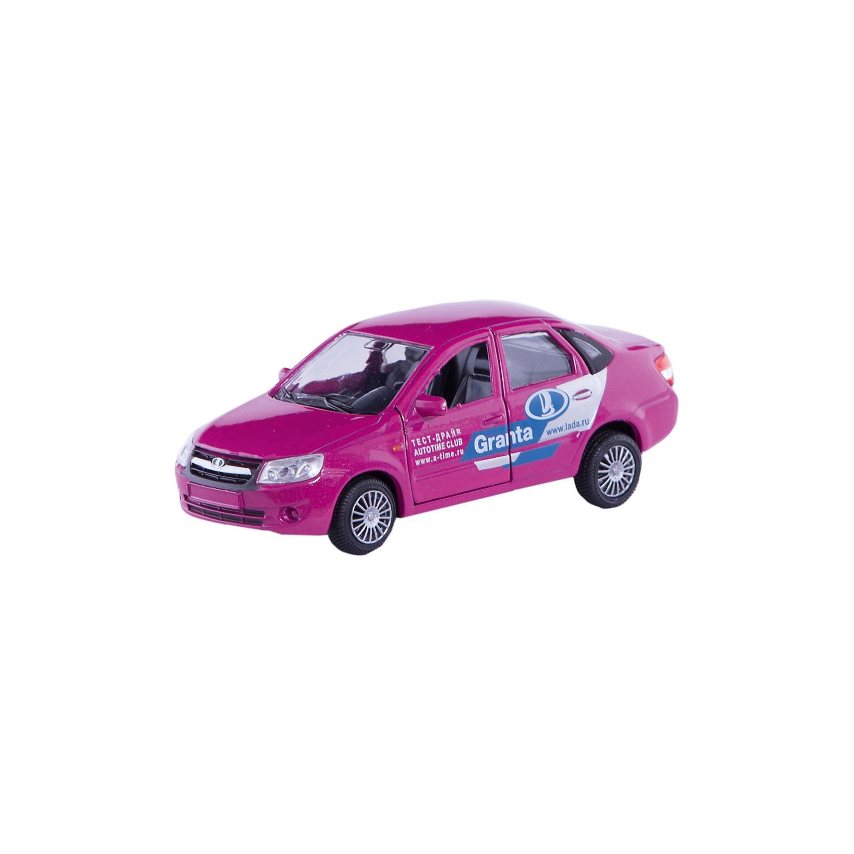 Машинка Lada Granta тест-драйв 1:36, AutotimeМашинки<br>Характеристики товара:<br><br>• цвет: розовый<br>• материал: металл, пластик<br>• размер: 16,5х7,х5,7 см<br>• вес: 100 г<br>• масштаб: 1:36<br>• колеса вращаются<br>• хорошая детализация<br>• открываются двери<br>• страна бренда: Россия<br>• страна производства: Китай<br><br>Коллекционная машинка LADA GRANTA тест-драйв от бренда AUTOTIME станет отличным подарком для мальчика. Подробная детализация машинки порадует увлеченного коллекционера, а открывающиеся двери и свободно вращающиеся колеса придутся по душе юному владельцу игрушечного гаража. Эта игрушка подарит восторг и радость вашему ребенку. <br>Игрушка также воздействует на наглядно-образное мышление, логическое мышление, развивает мелкую моторику. Изделие выполнено из сертифицированных материалов, безопасных для детей.<br><br>Машинку «Lada Granta» тест-драйв от бренда AUTOTIME можно купить в нашем интернет-магазине.<br><br>Ширина мм: 165<br>Глубина мм: 57<br>Высота мм: 75<br>Вес г: 13<br>Возраст от месяцев: 36<br>Возраст до месяцев: 2147483647<br>Пол: Мужской<br>Возраст: Детский<br>SKU: 5583895