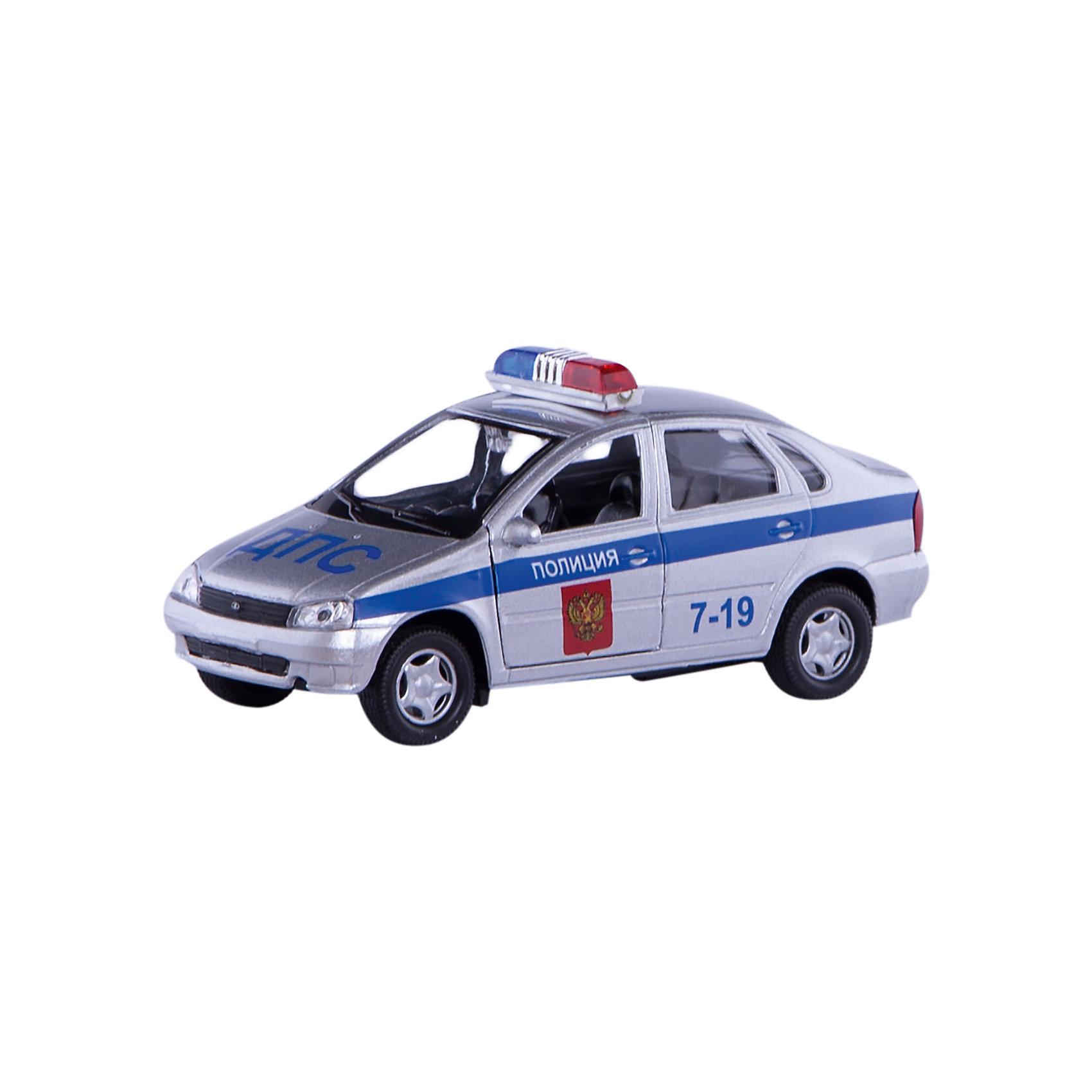 Машинка Lada Kalina полиция 1:34, AutotimeМашинки<br>Характеристики товара:<br><br>• цвет: серый<br>• материал: металл, пластик<br>• размер: 16,5х7,х5,7 см<br>• вес: 100 г<br>• масштаб: 1:34<br>• прочный материал<br>• хорошая детализация<br>• открываются двери<br>• страна бренда: Россия<br>• страна производства: Китай<br><br>Коллекционная машинка LADA Kalina полиция от бренда AUTOTIME станет отличным подарком для мальчика. Подробная детализация машинки порадует увлеченного коллекционера, а открывающиеся двери и свободно вращающиеся колеса придутся по душе юному владельцу игрушечного гаража. Эта игрушка подарит восторг и радость вашему ребенку. <br><br>Игрушка также воздействует на наглядно-образное мышление, логическое мышление, развивает мелкую моторику. Изделие выполнено из сертифицированных материалов, безопасных для детей.<br><br>Машинку «Lada Kalina» полиция от бренда AUTOTIME можно купить в нашем интернет-магазине.<br><br>Ширина мм: 165<br>Глубина мм: 57<br>Высота мм: 75<br>Вес г: 13<br>Возраст от месяцев: 36<br>Возраст до месяцев: 2147483647<br>Пол: Мужской<br>Возраст: Детский<br>SKU: 5583907