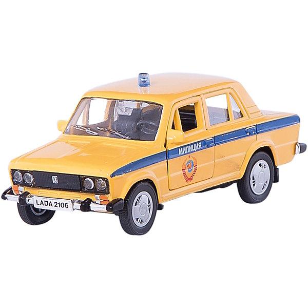 Машинка Lada 2106 милиция СССР 1:36, AutotimeМашинки<br>Характеристики товара:<br><br>• цвет: желтый<br>• материал: металл, пластик<br>• размер: 16,5х7,х5,7 см<br>• вес: 100 г<br>• масштаб: 1:36<br>• прочный материал<br>• хорошая детализация<br>• открываются двери<br>• страна бренда: Россия<br>• страна производства: Китай<br><br>Коллекционная машинка LADA 2106 милиция от бренда AUTOTIME станет отличным подарком для мальчика. Подробная детализация машинки порадует увлеченного коллекционера, а открывающиеся двери и свободно вращающиеся колеса придутся по душе юному владельцу игрушечного гаража. Эта игрушка подарит восторг и радость вашему ребенку. <br><br>Игрушка также воздействует на наглядно-образное мышление, логическое мышление, развивает мелкую моторику. Изделие выполнено из сертифицированных материалов, безопасных для детей.<br><br>Машинку «Lada 2106» милиция от бренда AUTOTIME можно купить в нашем интернет-магазине.<br><br>Ширина мм: 165<br>Глубина мм: 57<br>Высота мм: 75<br>Вес г: 13<br>Возраст от месяцев: 36<br>Возраст до месяцев: 2147483647<br>Пол: Мужской<br>Возраст: Детский<br>SKU: 5583938