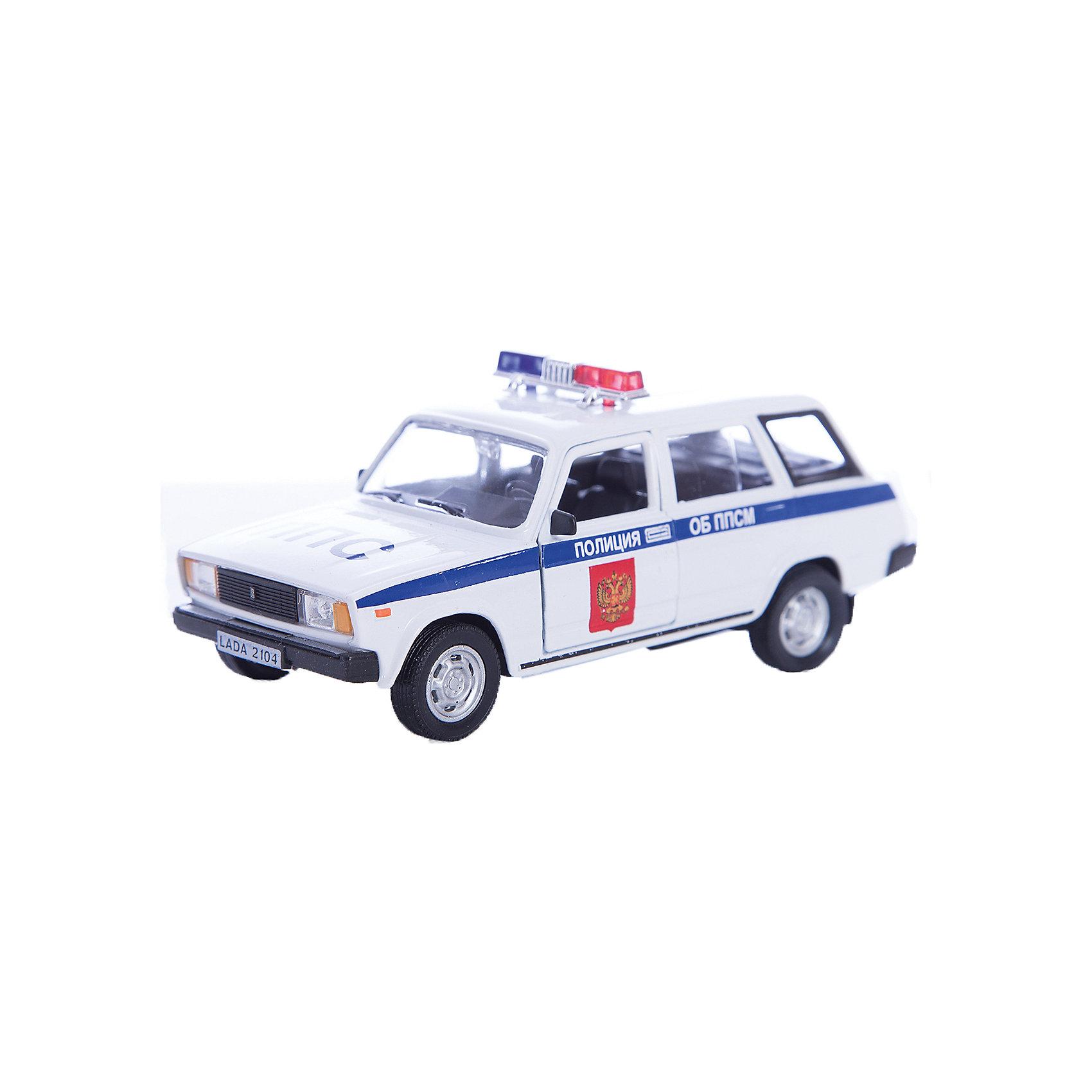 Машинка Lada 2104 полиция 1:36, AutotimeМашинки<br>Характеристики товара:<br><br>• цвет: разноцветный<br>• материал: металл, пластик<br>• размер: 16,5х7,х5,7 см<br>• вес: 100 г<br>• масштаб: 1:36<br>• прочный материал<br>• хорошая детализация<br>• открываются двери<br>• страна бренда: Россия<br>• страна производства: Китай<br><br>Коллекционная машинка LADA 2104 полиция от бренда AUTOTIME станет отличным подарком для мальчика. Подробная детализация машинки порадует увлеченного коллекционера, а открывающиеся двери и свободно вращающиеся колеса придутся по душе юному владельцу игрушечного гаража. Эта игрушка подарит восторг и радость вашему ребенку. <br>Игрушка также воздействует на наглядно-образное мышление, логическое мышление, развивает мелкую моторику. Изделие выполнено из сертифицированных материалов, безопасных для детей.<br><br>Машинку «Lada 2104» полиция от бренда AUTOTIME можно купить в нашем интернет-магазине.<br><br>Ширина мм: 165<br>Глубина мм: 57<br>Высота мм: 75<br>Вес г: 13<br>Возраст от месяцев: 36<br>Возраст до месяцев: 2147483647<br>Пол: Мужской<br>Возраст: Детский<br>SKU: 5583946