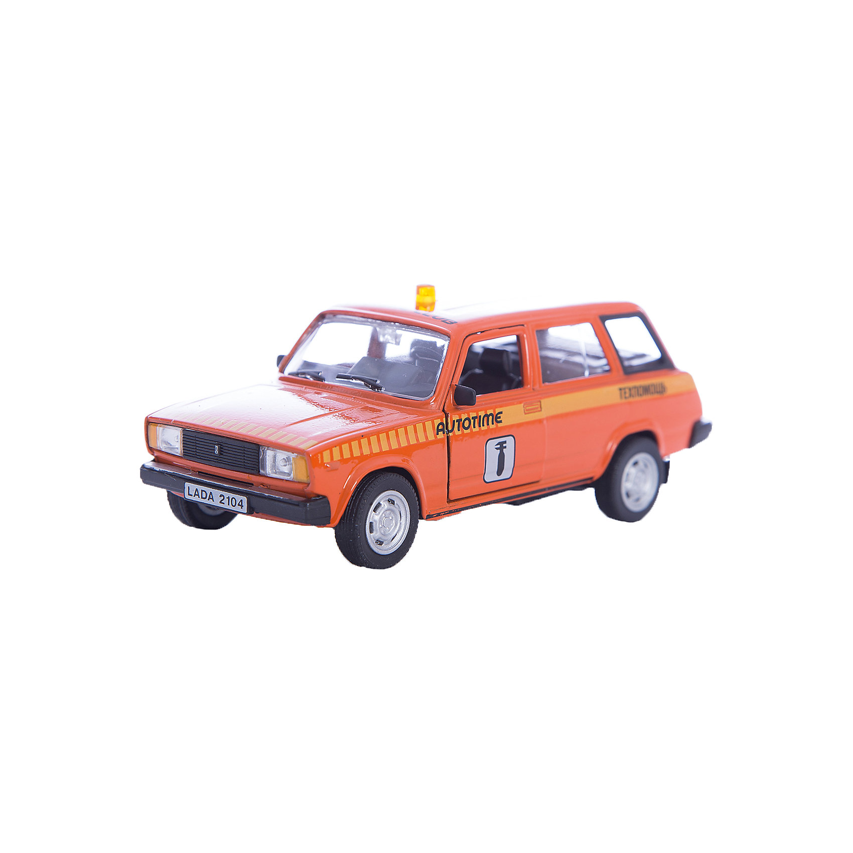 Машинка Lada 2104 техпомощь 1:36, AutotimeМашинки<br>Характеристики товара:<br><br>• цвет: оранжевый<br>• материал: металл, пластик<br>• размер: 16,5х7,х5,7 см<br>• вес: 100 г<br>• масштаб: 1:36<br>• прочный материал<br>• хорошая детализация<br>• открываются двери<br>• страна бренда: Россия<br>• страна производства: Китай<br><br>Коллекционная машинка LADA 2104 техпомощь от бренда AUTOTIME станет отличным подарком для мальчика. Подробная детализация машинки порадует увлеченного коллекционера, а открывающиеся двери и свободно вращающиеся колеса придутся по душе юному владельцу игрушечного гаража. Эта игрушка подарит восторг и радость вашему ребенку. <br><br>Игрушка также воздействует на наглядно-образное мышление, логическое мышление, развивает мелкую моторику. Изделие выполнено из сертифицированных материалов, безопасных для детей.<br><br>Машинку «Lada 2104» техпомощь от бренда AUTOTIME можно купить в нашем интернет-магазине.<br><br>Ширина мм: 165<br>Глубина мм: 57<br>Высота мм: 75<br>Вес г: 13<br>Возраст от месяцев: 36<br>Возраст до месяцев: 2147483647<br>Пол: Мужской<br>Возраст: Детский<br>SKU: 5583952