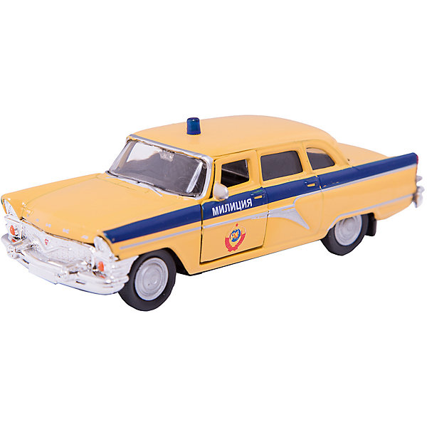 Машинка ГАЗ-13 Чайка милиция СССР 1:43, AutotimeМашинки<br>Характеристики товара:<br><br>• цвет: желтый<br>• материал: металл, пластик<br>• размер: 16х7,5х5,7 см<br>• вес: 100 г<br>• масштаб: 1:43<br>• прочный материал<br>• хорошая детализация<br>• открываются двери<br>• вращаются колеса<br>• коллекционная<br>• страна бренда: Россия<br>• страна производства: Китай<br><br>Металлическая машинка ГАЗ-13 Чайка от бренда AUTOTIME придется по душе мальчикам. Это идеальный подарок для ценителя и коллекционера автомобилей, которые выполнены с подробной детализацией. Игрушка является настоящей копией машины «Чайка», которая выпускалась в СССР. Двери машинки открываются свободно, колеса вращаются. Поэтому она может стать и частью коллекции, и выступать отдельной игрушкой.<br><br>Машинка может выполнять сразу несколько функций: развлекать ребенка, помогать вырабатывать практические качества: ловкость, координацию, мелкую моторику. Также в процессе увлекательной игры развивается фантазия ребенка. Изделие выполнено из сертифицированных материалов, безопасных для детей.<br><br>Машинку ГАЗ-13 Чайка милиция СССР от бренда AUTOTIME можно купить в нашем интернет-магазине.<br>Ширина мм: 165; Глубина мм: 57; Высота мм: 75; Вес г: 13; Возраст от месяцев: 36; Возраст до месяцев: 2147483647; Пол: Мужской; Возраст: Детский; SKU: 5583959;