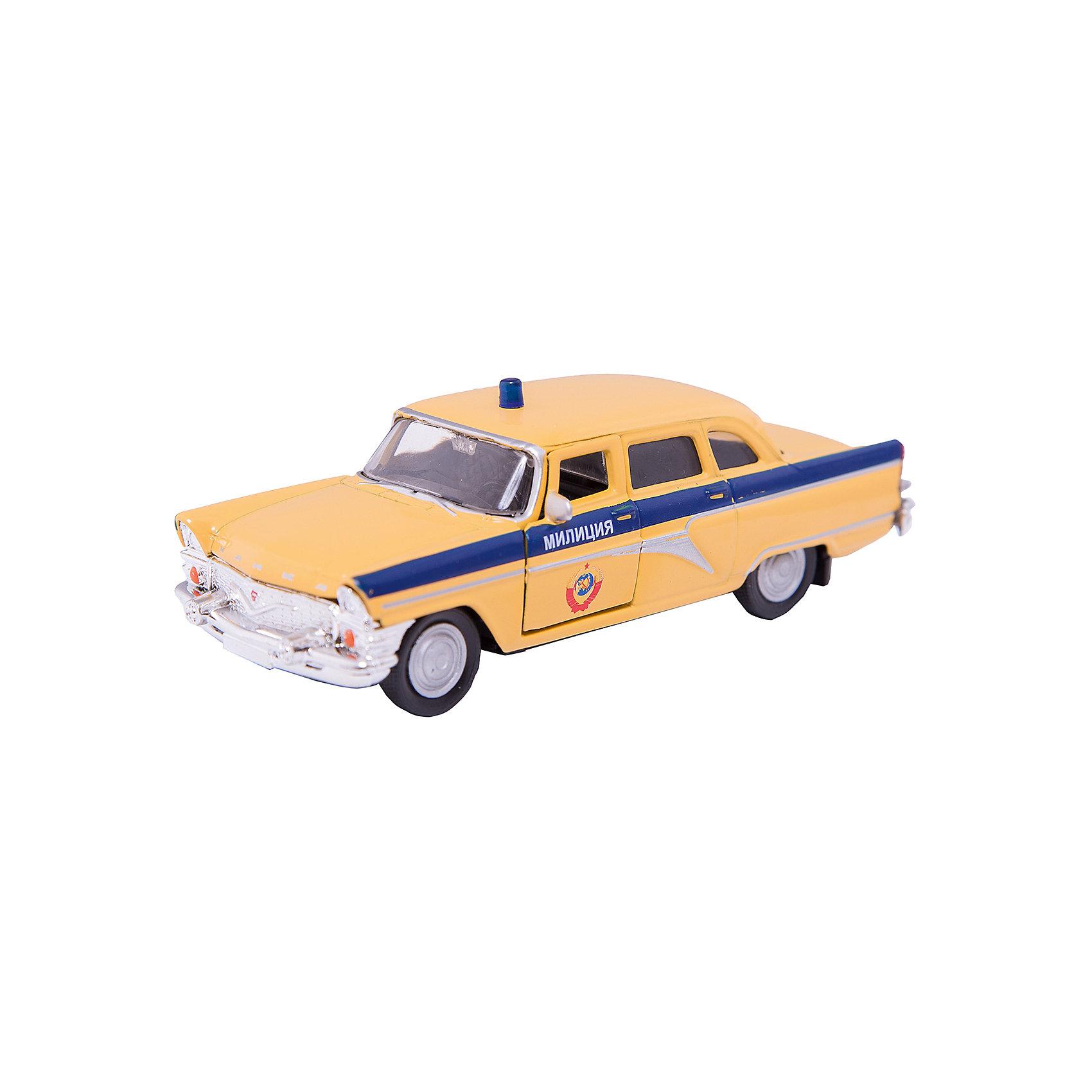 Машинка ГАЗ-13 Чайка милиция СССР 1:43, AutotimeМашинки<br>Характеристики товара:<br><br>• цвет: желтый<br>• материал: металл, пластик<br>• размер: 16х7,5х5,7 см<br>• вес: 100 г<br>• масштаб: 1:43<br>• прочный материал<br>• хорошая детализация<br>• открываются двери<br>• вращаются колеса<br>• коллекционная<br>• страна бренда: Россия<br>• страна производства: Китай<br><br>Металлическая машинка ГАЗ-13 Чайка от бренда AUTOTIME придется по душе мальчикам. Это идеальный подарок для ценителя и коллекционера автомобилей, которые выполнены с подробной детализацией. Игрушка является настоящей копией машины «Чайка», которая выпускалась в СССР. Двери машинки открываются свободно, колеса вращаются. Поэтому она может стать и частью коллекции, и выступать отдельной игрушкой.<br><br>Машинка может выполнять сразу несколько функций: развлекать ребенка, помогать вырабатывать практические качества: ловкость, координацию, мелкую моторику. Также в процессе увлекательной игры развивается фантазия ребенка. Изделие выполнено из сертифицированных материалов, безопасных для детей.<br><br>Машинку ГАЗ-13 Чайка милиция СССР от бренда AUTOTIME можно купить в нашем интернет-магазине.<br><br>Ширина мм: 165<br>Глубина мм: 57<br>Высота мм: 75<br>Вес г: 13<br>Возраст от месяцев: 36<br>Возраст до месяцев: 2147483647<br>Пол: Мужской<br>Возраст: Детский<br>SKU: 5583959
