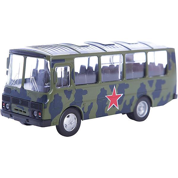 Машинка ПАЗ-32053 армейский 1:43, AutotimeВоенный транспорт<br>Характеристики товара:<br><br>• цвет: зеленый<br>• материал: металл, пластик<br>• размер упаковки: 22х7х17 см<br>• вес: 100 г<br>• масштаб: 1:43<br>• хорошая детализация<br>• вращаются колеса<br>• коллекционная<br>• страна бренда: Россия<br>• страна производства: Китай<br><br>Металлическая машинка ПАЗ-32053 от бренда AUTOTIME придется по душе мальчикам. Это идеальный подарок для ценителя и коллекционера автомобилей, которые выполнены с подробной детализацией. Игрушка является настоящей копией автобуса. Колеса машинки вращаются. Поэтому она может стать и частью коллекции, и выступать отдельной игрушкой.<br><br>Машинка может выполнять сразу несколько функций: развлекать ребенка, помогать вырабатывать практические качества: ловкость, координацию, мелкую моторику. Также в процессе увлекательной игры развивается фантазия ребенка. Изделие выполнено из сертифицированных материалов, безопасных для детей.<br><br>Машинку ПАЗ-32053 армейский от бренда AUTOTIME можно купить в нашем интернет-магазине.<br>Ширина мм: 165; Глубина мм: 57; Высота мм: 75; Вес г: 13; Возраст от месяцев: 36; Возраст до месяцев: 2147483647; Пол: Мужской; Возраст: Детский; SKU: 5583988;