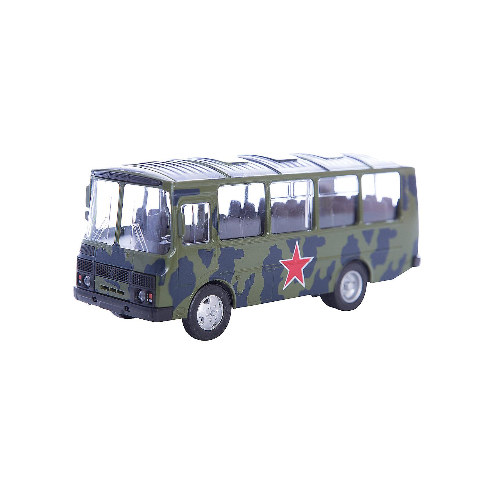 Машинка ПАЗ-32053 армейский 1:43, AutotimeМашинки<br>Характеристики товара:<br><br>• цвет: зеленый<br>• материал: металл, пластик<br>• размер упаковки: 22х7х17 см<br>• вес: 100 г<br>• масштаб: 1:43<br>• хорошая детализация<br>• вращаются колеса<br>• коллекционная<br>• страна бренда: Россия<br>• страна производства: Китай<br><br>Металлическая машинка ПАЗ-32053 от бренда AUTOTIME придется по душе мальчикам. Это идеальный подарок для ценителя и коллекционера автомобилей, которые выполнены с подробной детализацией. Игрушка является настоящей копией автобуса. Колеса машинки вращаются. Поэтому она может стать и частью коллекции, и выступать отдельной игрушкой.<br><br>Машинка может выполнять сразу несколько функций: развлекать ребенка, помогать вырабатывать практические качества: ловкость, координацию, мелкую моторику. Также в процессе увлекательной игры развивается фантазия ребенка. Изделие выполнено из сертифицированных материалов, безопасных для детей.<br><br>Машинку ПАЗ-32053 армейский от бренда AUTOTIME можно купить в нашем интернет-магазине.<br><br>Ширина мм: 165<br>Глубина мм: 57<br>Высота мм: 75<br>Вес г: 13<br>Возраст от месяцев: 36<br>Возраст до месяцев: 2147483647<br>Пол: Мужской<br>Возраст: Детский<br>SKU: 5583988