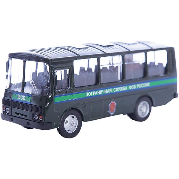 Машинка ПАЗ-32053 пограничная служба ФСБ 1:43, AutotimeМашинки<br>Характеристики товара:<br><br>• цвет: зеленый<br>• материал: металл, пластик<br>• размер упаковки: 22х7х17 см<br>• вес: 100 г<br>• масштаб: 1:43<br>• хорошая детализация<br>• вращаются колеса<br>• коллекционная<br>• страна бренда: Россия<br>• страна производства: Китай<br><br>Металлическая машинка ПАЗ-32053 от бренда AUTOTIME придется по душе мальчикам. Это идеальный подарок для ценителя и коллекционера автомобилей, которые выполнены с подробной детализацией. Игрушка является настоящей копией автобуса. Колеса машинки вращаются. Поэтому она может стать и частью коллекции, и выступать отдельной игрушкой.<br><br>Машинка может выполнять сразу несколько функций: развлекать ребенка, помогать вырабатывать практические качества: ловкость, координацию, мелкую моторику. Также в процессе увлекательной игры развивается фантазия ребенка. Изделие выполнено из сертифицированных материалов, безопасных для детей.<br><br>Машинку ПАЗ-32053 пограничная служба ФСБ от бренда AUTOTIME можно купить в нашем интернет-магазине.<br><br>Ширина мм: 165<br>Глубина мм: 57<br>Высота мм: 75<br>Вес г: 13<br>Возраст от месяцев: 36<br>Возраст до месяцев: 2147483647<br>Пол: Мужской<br>Возраст: Детский<br>SKU: 5583989