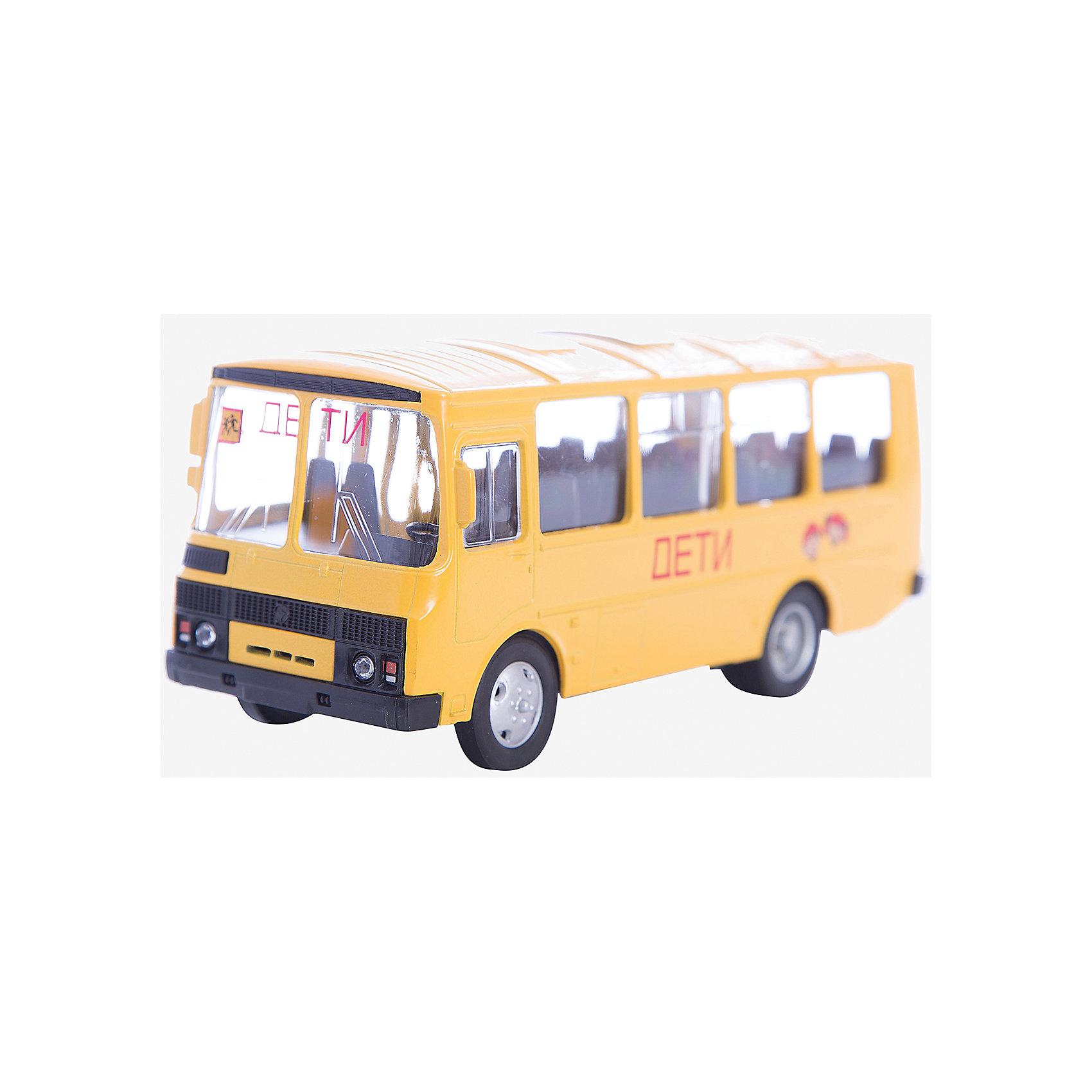 Машинка ПАЗ-32053 школьный автобус 1:43, AutotimeМашинки<br>Характеристики товара:<br><br>• цвет: желтый<br>• материал: металл, пластик<br>• размер упаковки: 22х7х17 см<br>• вес: 100 г<br>• масштаб: 1:43<br>• хорошая детализация<br>• вращаются колеса<br>• коллекционная<br>• страна бренда: Россия<br>• страна производства: Китай<br><br>Металлическая машинка ПАЗ-32053 от бренда AUTOTIME придется по душе мальчикам. Это идеальный подарок для ценителя и коллекционера автомобилей, которые выполнены с подробной детализацией. Игрушка является настоящей копией автобуса. Колеса машинки вращаются. Поэтому она может стать и частью коллекции, и выступать отдельной игрушкой.<br><br>Машинка может выполнять сразу несколько функций: развлекать ребенка, помогать вырабатывать практические качества: ловкость, координацию, мелкую моторику. Также в процессе увлекательной игры развивается фантазия ребенка. Изделие выполнено из сертифицированных материалов, безопасных для детей.<br><br>Машинку ПАЗ-32053 школьный автобус от бренда AUTOTIME можно купить в нашем интернет-магазине.<br><br>Ширина мм: 165<br>Глубина мм: 57<br>Высота мм: 75<br>Вес г: 13<br>Возраст от месяцев: 36<br>Возраст до месяцев: 2147483647<br>Пол: Мужской<br>Возраст: Детский<br>SKU: 5583992