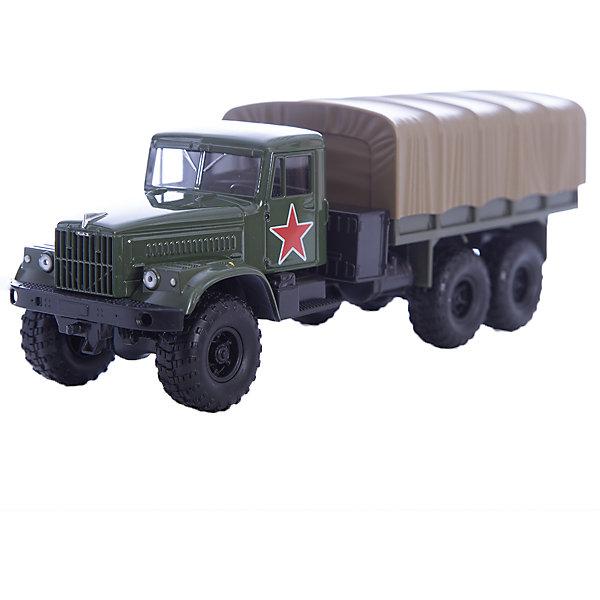 Машинка KRAZ-255B армейская, AutotimeВоенный транспорт<br>Характеристики товара:<br><br>• цвет: зеленый<br>• материал: металл, пластик<br>• длина: 20 см<br>• размер упаковки: 22х7х17 см<br>• вес: 100 г<br>• масштаб: 1:43<br>• хорошая детализация<br>• вращаются колеса<br>• коллекционная<br>• страна бренда: Россия<br>• страна производства: Китай<br><br>Многие мальчики в детстве мечтают стать героями. Эта машинка позволит вашему ребенку представить себя на месте отважного спасателя! Коллекционная модель машины - это уменьшенная копия грузовика. Данная модель выполнена с тщательной детализацией и представлена в масштабе 1:43. Кабина грузовика окрашена в характерный цвет. <br><br>Машинка может выполнять сразу несколько функций: развлекать ребенка, помогать вырабатывать практические качества: ловкость, координацию, мелкую моторику. Также в процессе увлекательной игры развивается фантазия ребенка. Изделие выполнено из сертифицированных материалов, безопасных для детей. Машинка стимулирует двигательную активность ребенка, дает представление об устройстве автомобиля. Эта модель станет отличным подарком как отдельная игрушка, а также может пополнить коллекцию юного ценителя техники.<br><br>Машинку KRAZ-255B армейская от бренда AUTOTIME можно купить в нашем интернет-магазине.<br>Ширина мм: 250; Глубина мм: 95; Высота мм: 110; Вес г: 25; Возраст от месяцев: 36; Возраст до месяцев: 2147483647; Пол: Мужской; Возраст: Детский; SKU: 5583996;