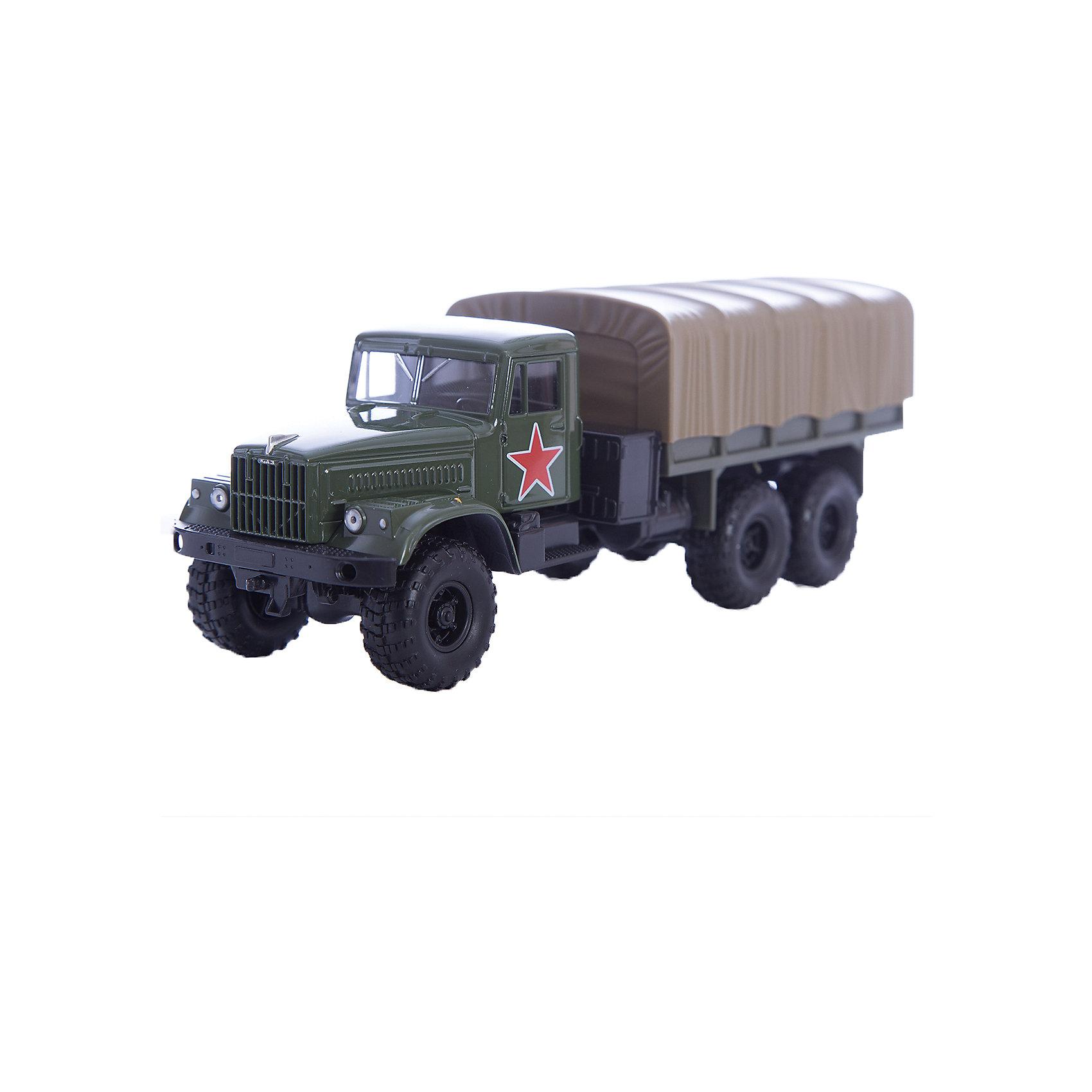 Машинка KRAZ-255B армейская, AutotimeВоенный транспорт<br>Характеристики товара:<br><br>• цвет: зеленый<br>• материал: металл, пластик<br>• длина: 20 см<br>• размер упаковки: 22х7х17 см<br>• вес: 100 г<br>• масштаб: 1:43<br>• хорошая детализация<br>• вращаются колеса<br>• коллекционная<br>• страна бренда: Россия<br>• страна производства: Китай<br><br>Многие мальчики в детстве мечтают стать героями. Эта машинка позволит вашему ребенку представить себя на месте отважного спасателя! Коллекционная модель машины - это уменьшенная копия грузовика. Данная модель выполнена с тщательной детализацией и представлена в масштабе 1:43. Кабина грузовика окрашена в характерный цвет. <br><br>Машинка может выполнять сразу несколько функций: развлекать ребенка, помогать вырабатывать практические качества: ловкость, координацию, мелкую моторику. Также в процессе увлекательной игры развивается фантазия ребенка. Изделие выполнено из сертифицированных материалов, безопасных для детей. Машинка стимулирует двигательную активность ребенка, дает представление об устройстве автомобиля. Эта модель станет отличным подарком как отдельная игрушка, а также может пополнить коллекцию юного ценителя техники.<br><br>Машинку KRAZ-255B армейская от бренда AUTOTIME можно купить в нашем интернет-магазине.<br><br>Ширина мм: 250<br>Глубина мм: 95<br>Высота мм: 110<br>Вес г: 25<br>Возраст от месяцев: 36<br>Возраст до месяцев: 2147483647<br>Пол: Мужской<br>Возраст: Детский<br>SKU: 5583996