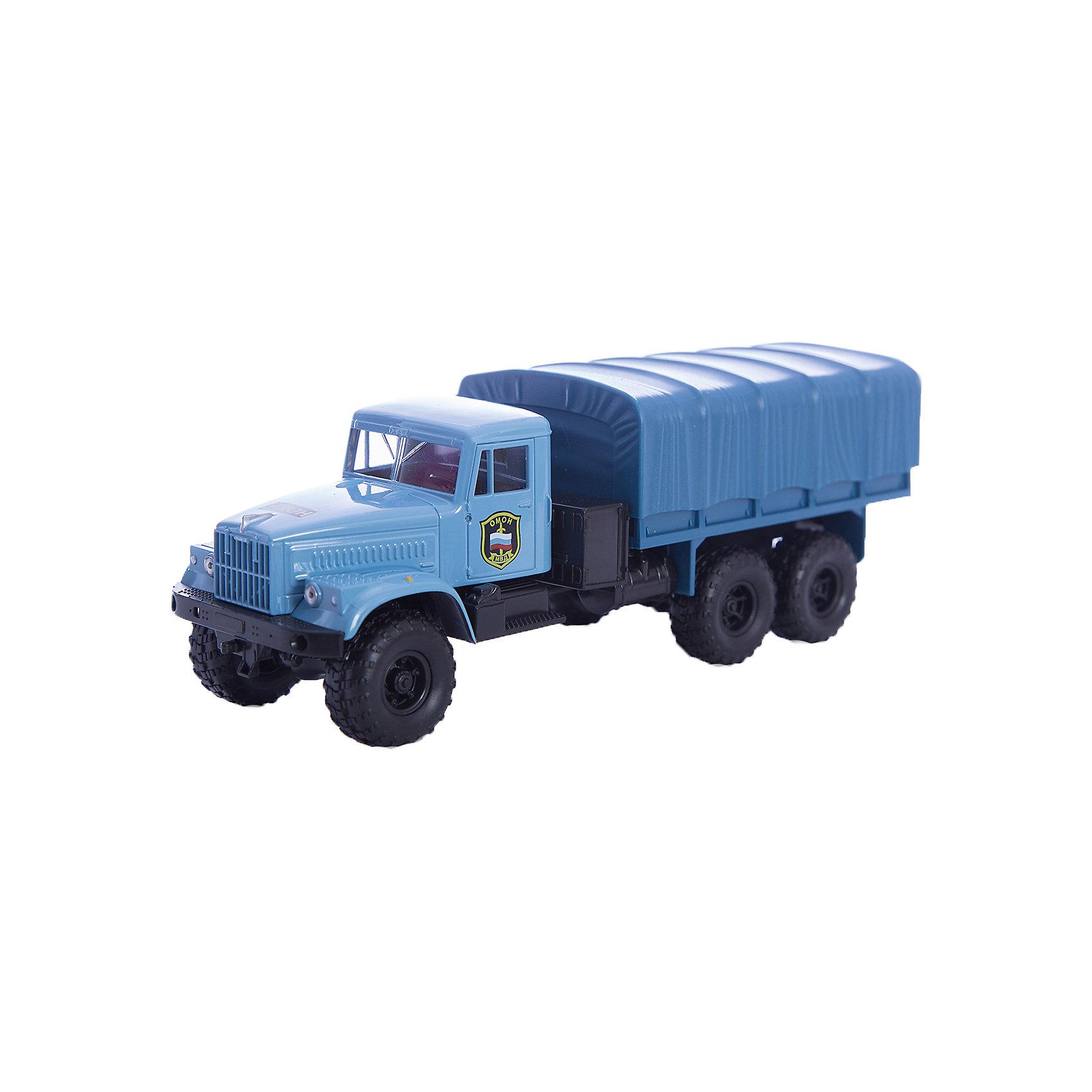 Машинка KRAZ-255B ОМОН, AutotimeМашинки<br>Характеристики товара:<br><br>• цвет: голубой<br>• материал: металл, пластик<br>• длина: 20 см<br>• размер упаковки: 22х7х17 см<br>• вес: 100 г<br>• масштаб: 1:43<br>• хорошая детализация<br>• вращаются колеса<br>• коллекционная<br>• страна бренда: Россия<br>• страна производства: Китай<br><br>Многие мальчики в детстве мечтают стать героями. Эта машинка позволит вашему ребенку представить себя на месте отважного спасателя! Коллекционная модель машины - это уменьшенная копия грузовика. Данная модель выполнена с тщательной детализацией и представлена в масштабе 1:43. Кабина грузовика окрашена в характерный цвет. <br><br>Машинка может выполнять сразу несколько функций: развлекать ребенка, помогать вырабатывать практические качества: ловкость, координацию, мелкую моторику. Также в процессе увлекательной игры развивается фантазия ребенка. Изделие выполнено из сертифицированных материалов, безопасных для детей. Машинка стимулирует двигательную активность ребенка, дает представление об устройстве автомобиля. Эта модель станет отличным подарком как отдельная игрушка, а также может пополнить коллекцию юного ценителя техники.<br><br>Машинку KRAZ-255B ОМОН от бренда AUTOTIME можно купить в нашем интернет-магазине.<br><br>Ширина мм: 250<br>Глубина мм: 95<br>Высота мм: 110<br>Вес г: 25<br>Возраст от месяцев: 36<br>Возраст до месяцев: 2147483647<br>Пол: Мужской<br>Возраст: Детский<br>SKU: 5583998