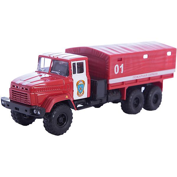 Машинка KRAZ-6322 пожарная охрана, AutotimeМашинки<br>Характеристики товара:<br><br>• цвет: красный<br>• материал: металл, пластик<br>• длина: 20 см<br>• размер упаковки: 22х7х17 см<br>• вес: 100 г<br>• масштаб: 1:43<br>• хорошая детализация<br>• вращаются колеса<br>• коллекционная<br>• страна бренда: Россия<br>• страна производства: Китай<br><br>Многие мальчики в детстве мечтают стать героями. Эта машинка позволит вашему ребенку представить себя на месте отважного спасателя! Коллекционная модель машины - это уменьшенная копия грузовика. Данная модель выполнена с тщательной детализацией и представлена в масштабе 1:43. Кабина грузовика окрашена в характерный цвет. <br><br>Машинка может выполнять сразу несколько функций: развлекать ребенка, помогать вырабатывать практические качества: ловкость, координацию, мелкую моторику. Также в процессе увлекательной игры развивается фантазия ребенка. Изделие выполнено из сертифицированных материалов, безопасных для детей. Машинка стимулирует двигательную активность ребенка, дает представление об устройстве автомобиля. Эта модель станет отличным подарком как отдельная игрушка, а также может пополнить коллекцию юного ценителя техники.<br><br>Машинку KRAZ-6322 пожарная охрана от бренда AUTOTIME можно купить в нашем интернет-магазине.<br><br>Ширина мм: 250<br>Глубина мм: 95<br>Высота мм: 110<br>Вес г: 25<br>Возраст от месяцев: 36<br>Возраст до месяцев: 2147483647<br>Пол: Мужской<br>Возраст: Детский<br>SKU: 5584000