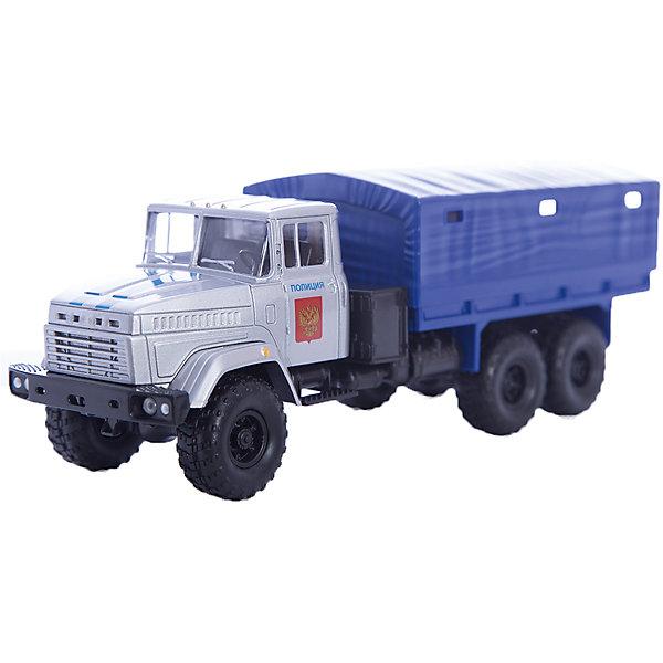 Машинка KRAZ-6322 полиция, AutotimeМашинки<br>Характеристики товара:<br><br>• цвет: синий<br>• материал: металл, пластик<br>• длина: 20 см<br>• размер упаковки: 22х7х17 см<br>• вес: 100 г<br>• масштаб: 1:43<br>• хорошая детализация<br>• вращаются колеса<br>• коллекционная<br>• страна бренда: Россия<br>• страна производства: Китай<br><br>Многие мальчики в детстве мечтают стать героями. Эта машинка позволит вашему ребенку представить себя на месте отважного спасателя! Коллекционная модель машины - это уменьшенная копия грузовика. Данная модель выполнена с тщательной детализацией и представлена в масштабе 1:43. Кабина грузовика окрашена в характерный цвет. <br><br>Машинка может выполнять сразу несколько функций: развлекать ребенка, помогать вырабатывать практические качества: ловкость, координацию, мелкую моторику. Также в процессе увлекательной игры развивается фантазия ребенка. Изделие выполнено из сертифицированных материалов, безопасных для детей. Машинка стимулирует двигательную активность ребенка, дает представление об устройстве автомобиля. Эта модель станет отличным подарком как отдельная игрушка, а также может пополнить коллекцию юного ценителя техники.<br><br>Машинку KRAZ-6322 полиция от бренда AUTOTIME можно купить в нашем интернет-магазине.<br><br>Ширина мм: 250<br>Глубина мм: 95<br>Высота мм: 110<br>Вес г: 25<br>Возраст от месяцев: 36<br>Возраст до месяцев: 2147483647<br>Пол: Мужской<br>Возраст: Детский<br>SKU: 5584001