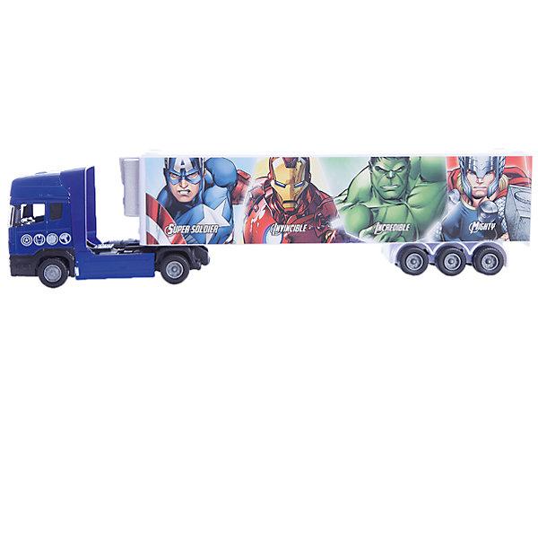 Машинка Avengers Мстители тягач с полуприцепом 1:48, AutotimeМашинки<br>Характеристики товара:<br><br>• цвет: синий<br>• материал: металл, пластик<br>• возраст: от 3 лет<br>• вес: 100 г<br>• масштаб: 1:48<br>• хорошая детализация<br>• упаковка: коробка<br>• по мотивам Мстителей<br>• страна бренда: Россия<br>• страна производства: Китай<br><br>Такая машинка приведет в восторг любителя супергероев! Она создана по мотивам вселенной, созданной Марвел. Это идеальный подарок для современного мальчика, который смотрит подобные фильмы или читает комиксы.<br><br>Машинка может выполнять сразу несколько функций: развлекать ребенка, помогать вырабатывать практические качества: ловкость, координацию, мелкую моторику. Также в процессе увлекательной игры развивается фантазия ребенка. Изделие выполнено из сертифицированных материалов, безопасных для детей.<br><br>Машинку Avengers Мстители тягач с полуприцепом от бренда AUTOTIME можно купить в нашем интернет-магазине.<br>Ширина мм: 165; Глубина мм: 57; Высота мм: 75; Вес г: 13; Возраст от месяцев: 36; Возраст до месяцев: 2147483647; Пол: Мужской; Возраст: Детский; SKU: 5584021;