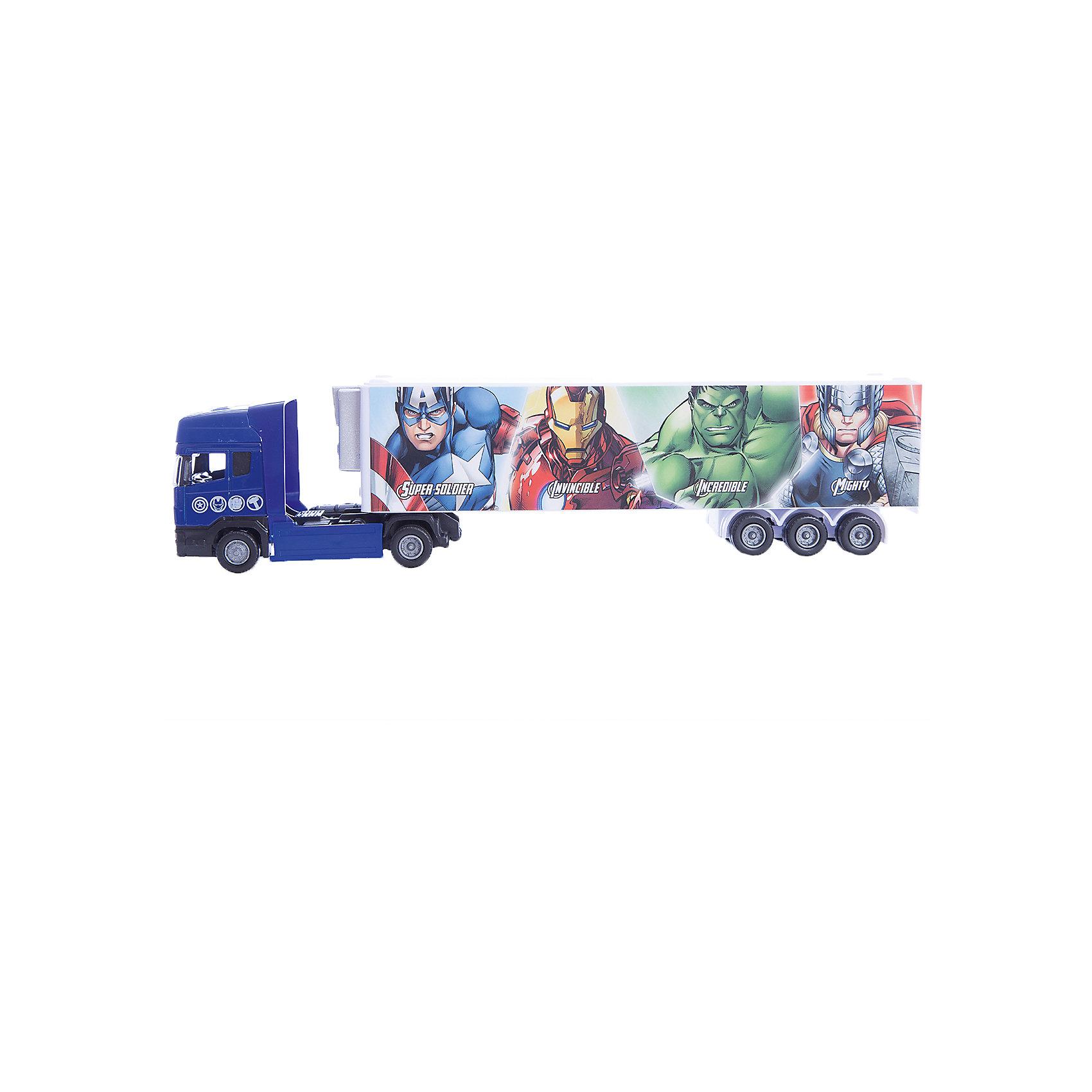 Машинка Avengers Мстители тягач с полуприцепом 1:48, AutotimeМашинки<br>Характеристики товара:<br><br>• цвет: синий<br>• материал: металл, пластик<br>• возраст: от 3 лет<br>• вес: 100 г<br>• масштаб: 1:48<br>• хорошая детализация<br>• упаковка: коробка<br>• по мотивам Мстителей<br>• страна бренда: Россия<br>• страна производства: Китай<br><br>Такая машинка приведет в восторг любителя супергероев! Она создана по мотивам вселенной, созданной Марвел. Это идеальный подарок для современного мальчика, который смотрит подобные фильмы или читает комиксы.<br><br>Машинка может выполнять сразу несколько функций: развлекать ребенка, помогать вырабатывать практические качества: ловкость, координацию, мелкую моторику. Также в процессе увлекательной игры развивается фантазия ребенка. Изделие выполнено из сертифицированных материалов, безопасных для детей.<br><br>Машинку Avengers Мстители тягач с полуприцепом от бренда AUTOTIME можно купить в нашем интернет-магазине.<br><br>Ширина мм: 165<br>Глубина мм: 57<br>Высота мм: 75<br>Вес г: 13<br>Возраст от месяцев: 36<br>Возраст до месяцев: 2147483647<br>Пол: Мужской<br>Возраст: Детский<br>SKU: 5584021