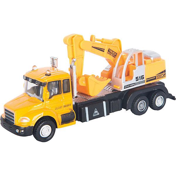 Машинка Excavator Truck с экскаватором 1:48, AutotimeМашинки<br>Характеристики товара:<br><br>• цвет: желтый<br>• возраст: от 3 лет<br>• материал: металл, пластик<br>• масштаб: 1:48<br>• колеса вращаются<br>• подвижные части крана<br>• размер упаковки: 16х6х7 см<br>• вес с упаковкой: 100 г<br>• страна бренда: Россия, Китай<br>• страна изготовитель: Китай<br><br>Такая отлично детализированная машинка является коллекционной моделью. Окна - прозрачные, поэтому через них можно увидеть салон.<br><br>Сделана машинка из прочного и безопасного материала. Модель с подвижным краном.<br><br>Машинку «Excavator Truck» с экскаватором 1:48, Autotime (Автотайм) можно купить в нашем интернет-магазине.<br><br>Ширина мм: 165<br>Глубина мм: 57<br>Высота мм: 75<br>Вес г: 13<br>Возраст от месяцев: 36<br>Возраст до месяцев: 2147483647<br>Пол: Мужской<br>Возраст: Детский<br>SKU: 5584047
