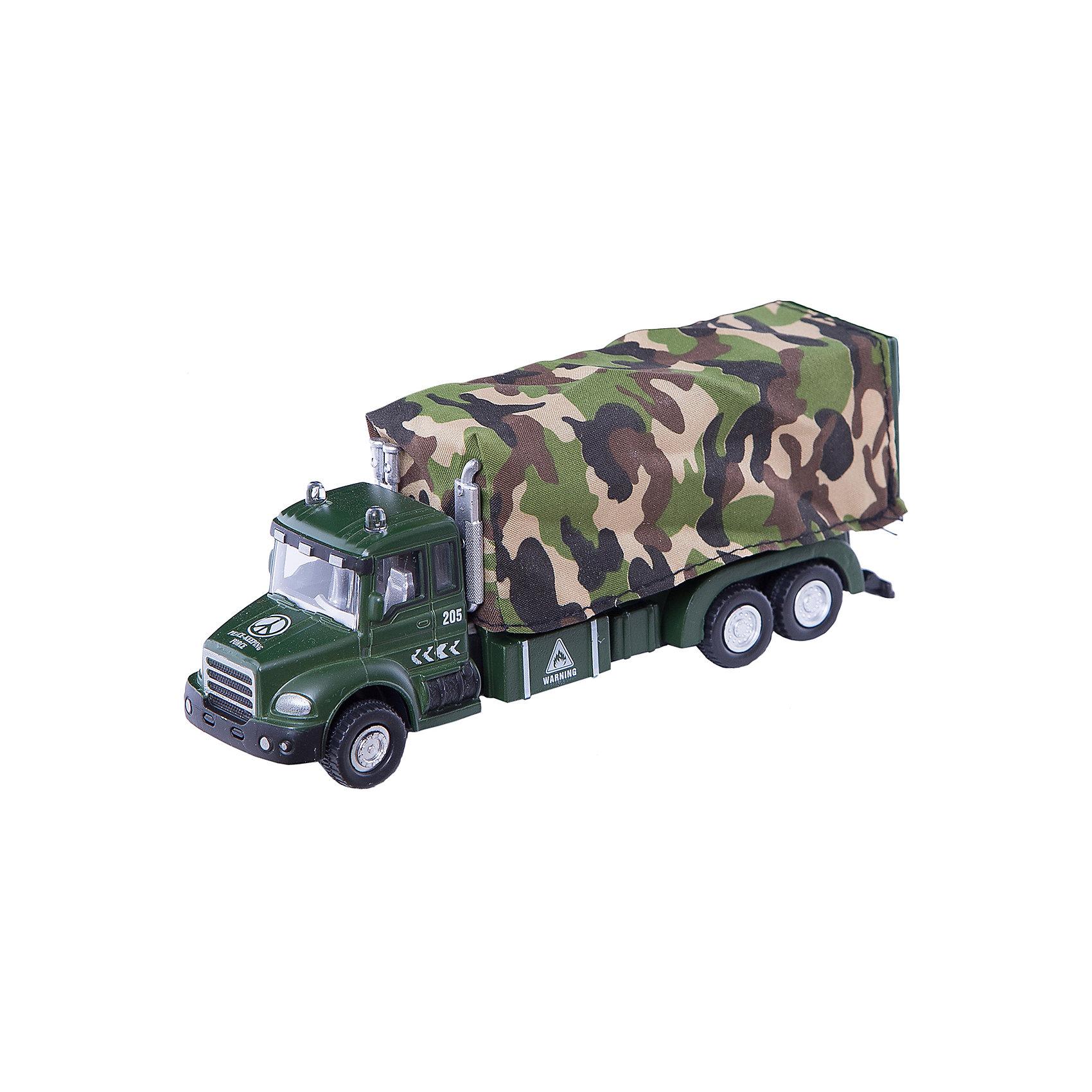 Машинка Military Truck с тентом 1:48, AutotimeМашинки<br>Характеристики товара:<br><br>• цвет: зеленый<br>• возраст: от 3 лет<br>• материал: металл, пластик<br>• масштаб: 1:48<br>• колеса вращаются<br>• размер упаковки: 16х6х7 см<br>• вес с упаковкой: 100 г<br>• страна бренда: Россия, Китай<br>• страна изготовитель: Китай<br><br>Эта коллекционная модель машинки отличается высокой детализацией. Окна - прозрачные, поэтому через них можно увидеть салон.<br><br>Сделана машинка из прочного и безопасного материала. Модель с кузовом.<br><br>Машинку «Military Truck» с тентом 1:48, Autotime (Автотайм) можно купить в нашем интернет-магазине.<br><br>Ширина мм: 165<br>Глубина мм: 57<br>Высота мм: 75<br>Вес г: 13<br>Возраст от месяцев: 36<br>Возраст до месяцев: 2147483647<br>Пол: Мужской<br>Возраст: Детский<br>SKU: 5584056