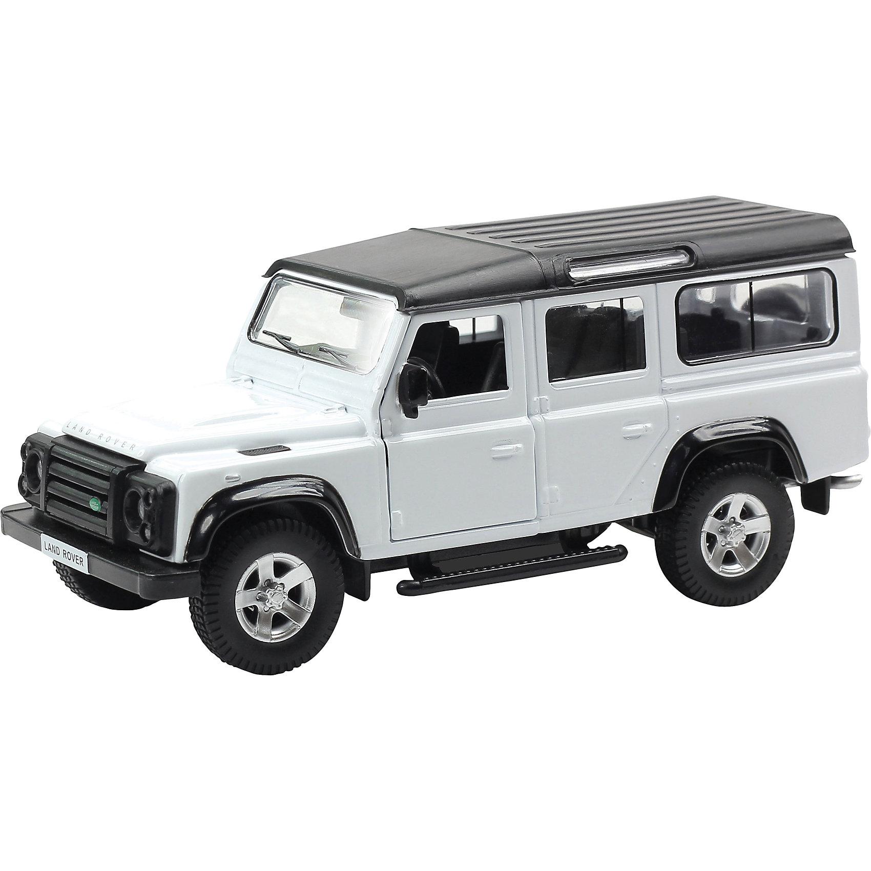 Машинка Land Rover Defende 5, AutotimeМашинки<br>Характеристики товара:<br><br>• цвет: черный, белый<br>• возраст: от 3 лет<br>• материал: металл, пластик<br>• масштаб: 1:32<br>• двери открываются<br>• размер упаковки: 16х7х7 см<br>• вес с упаковкой: 100 г<br>• страна бренда: Россия, Китай<br>• страна изготовитель: Китай<br><br>Эта модель представляет собой миниатюрную копию реально существующей машины. Она отличается высокой детализацией, является коллекционной моделью. <br><br>Сделана машинка из прочного и безопасного материала. Корпус - из металла. Благодаря прозрачным стеклам виден подробно проработанный салон.<br><br>Машинку «Land Rover Defende 5», Autotime (Автотайм) можно купить в нашем интернет-магазине.<br><br>Ширина мм: 165<br>Глубина мм: 57<br>Высота мм: 75<br>Вес г: 13<br>Возраст от месяцев: 36<br>Возраст до месяцев: 2147483647<br>Пол: Мужской<br>Возраст: Детский<br>SKU: 5584106