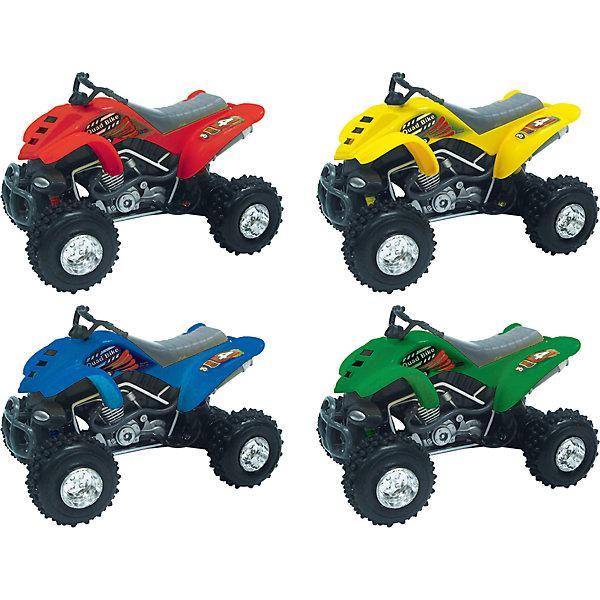 Мотоцикл Quadrobike Monster 1:16, AutotimeПластмассовые конструкторы<br>Характеристики товара:<br><br>• цвет: в ассортименте<br>• возраст: от 3 лет<br>• материал: металл, пластик<br>• масштаб: 1:16<br>• колеса крутятся<br>• звуковые эффекты<br>• на батарейках<br>• размер упаковки: 12х35х16 см<br>• вес с упаковкой: 500 г<br>• страна бренда: Россия, Китай<br>• страна изготовитель: Китай<br><br><br>Такой мотоцикл отличается звуковыми эффектами, которые он издает при его катании. Также стоит отметить высокую степень детализации. <br><br>Сделан мотоцикл из прочного и безопасного металла с добавление пластмассы. Работает на батарейках.<br><br>Мотоцикл «Quadrobike Monster 1:16», Autotime (Автотайм) можно купить в нашем интернет-магазине.<br>Ширина мм: 350; Глубина мм: 158; Высота мм: 120; Вес г: 15; Возраст от месяцев: 36; Возраст до месяцев: 2147483647; Пол: Мужской; Возраст: Детский; SKU: 5584122;