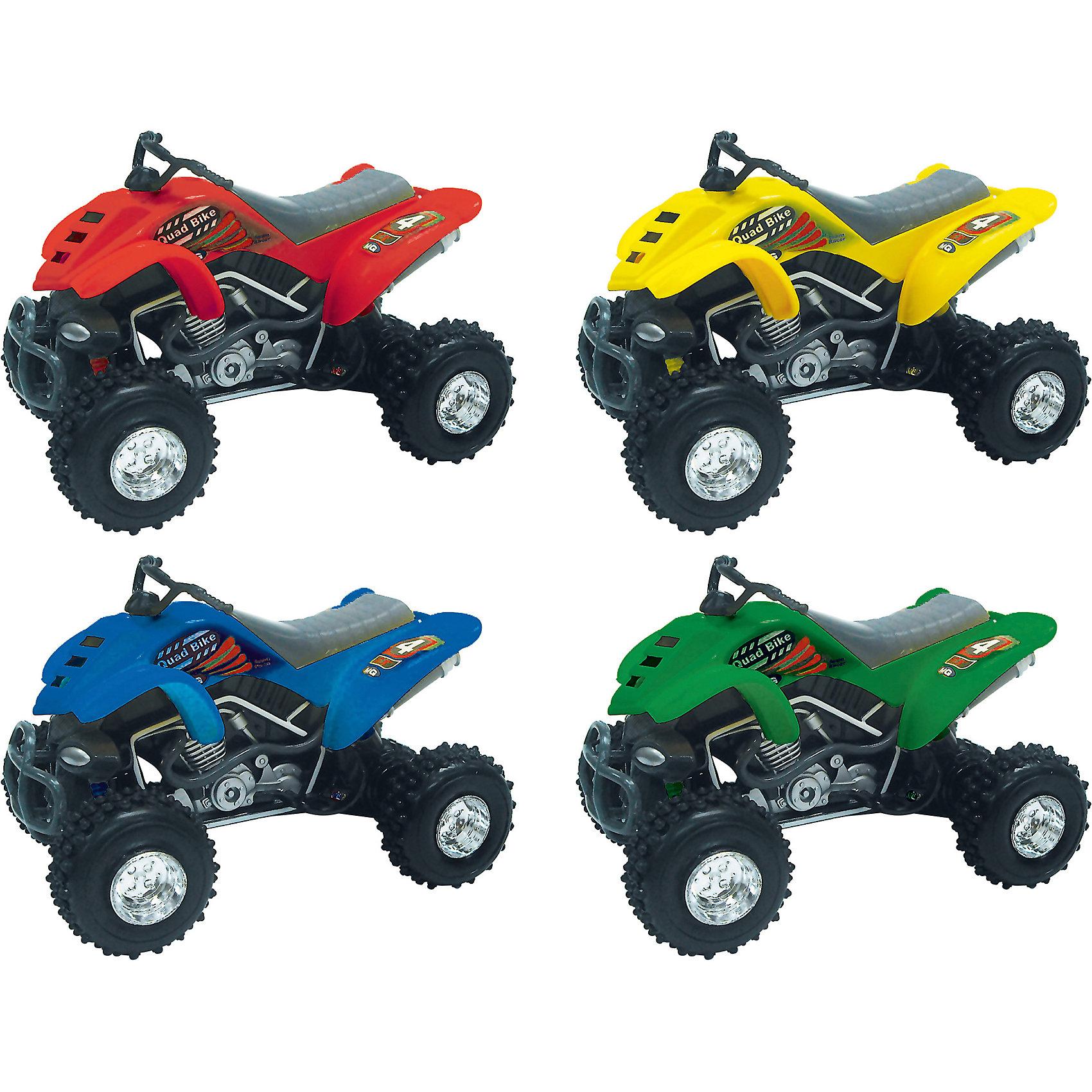 Мотоцикл Quadrobike Monster 1:16, AutotimeПластмассовые конструкторы<br>Характеристики товара:<br><br>• цвет: в ассортименте<br>• возраст: от 3 лет<br>• материал: металл, пластик<br>• масштаб: 1:16<br>• колеса крутятся<br>• звуковые эффекты<br>• на батарейках<br>• размер упаковки: 12х35х16 см<br>• вес с упаковкой: 500 г<br>• страна бренда: Россия, Китай<br>• страна изготовитель: Китай<br><br><br>Такой мотоцикл отличается звуковыми эффектами, которые он издает при его катании. Также стоит отметить высокую степень детализации. <br><br>Сделан мотоцикл из прочного и безопасного металла с добавление пластмассы. Работает на батарейках.<br><br>Мотоцикл «Quadrobike Monster 1:16», Autotime (Автотайм) можно купить в нашем интернет-магазине.<br><br>Ширина мм: 350<br>Глубина мм: 158<br>Высота мм: 120<br>Вес г: 15<br>Возраст от месяцев: 36<br>Возраст до месяцев: 2147483647<br>Пол: Мужской<br>Возраст: Детский<br>SKU: 5584122