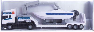 Машинка Scania полиция, с катером 1:48, Autotime