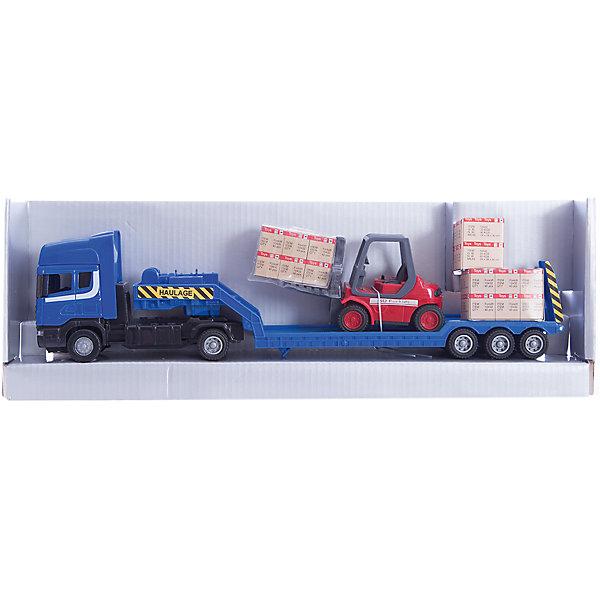 Машинка Scania с погрузчиком на платформе 1:48, AutotimeМашинки<br>Характеристики товара:<br><br>• цвет: мульти<br>• возраст: от 3 лет<br>• материал: металл, пластик<br>• масштаб: 1:48<br>• платформа с погрузчиком в комплекте<br>• инерционный механизм<br>• колеса вращаются<br>• размер упаковки: 35х6х11 см<br>• вес с упаковкой: 300 г<br>• страна бренда: Россия, Китай<br>• страна изготовитель: Китай<br><br>Эта машинка представляет собой миниатюрную копию грузовой машины с платформой и погрузчиком. Она отличается высокой детализацией, является коллекционной моделью. <br><br>Сделана машинка из прочного и безопасного материала. Корпус - из металла и пластика. <br><br>Машинку «Scania  с погрузчиком на платформе 1:48», Autotime (Автотайм) можно купить в нашем интернет-магазине.<br><br>Ширина мм: 362<br>Глубина мм: 114<br>Высота мм: 146<br>Вес г: 15<br>Возраст от месяцев: 36<br>Возраст до месяцев: 2147483647<br>Пол: Мужской<br>Возраст: Детский<br>SKU: 5584137