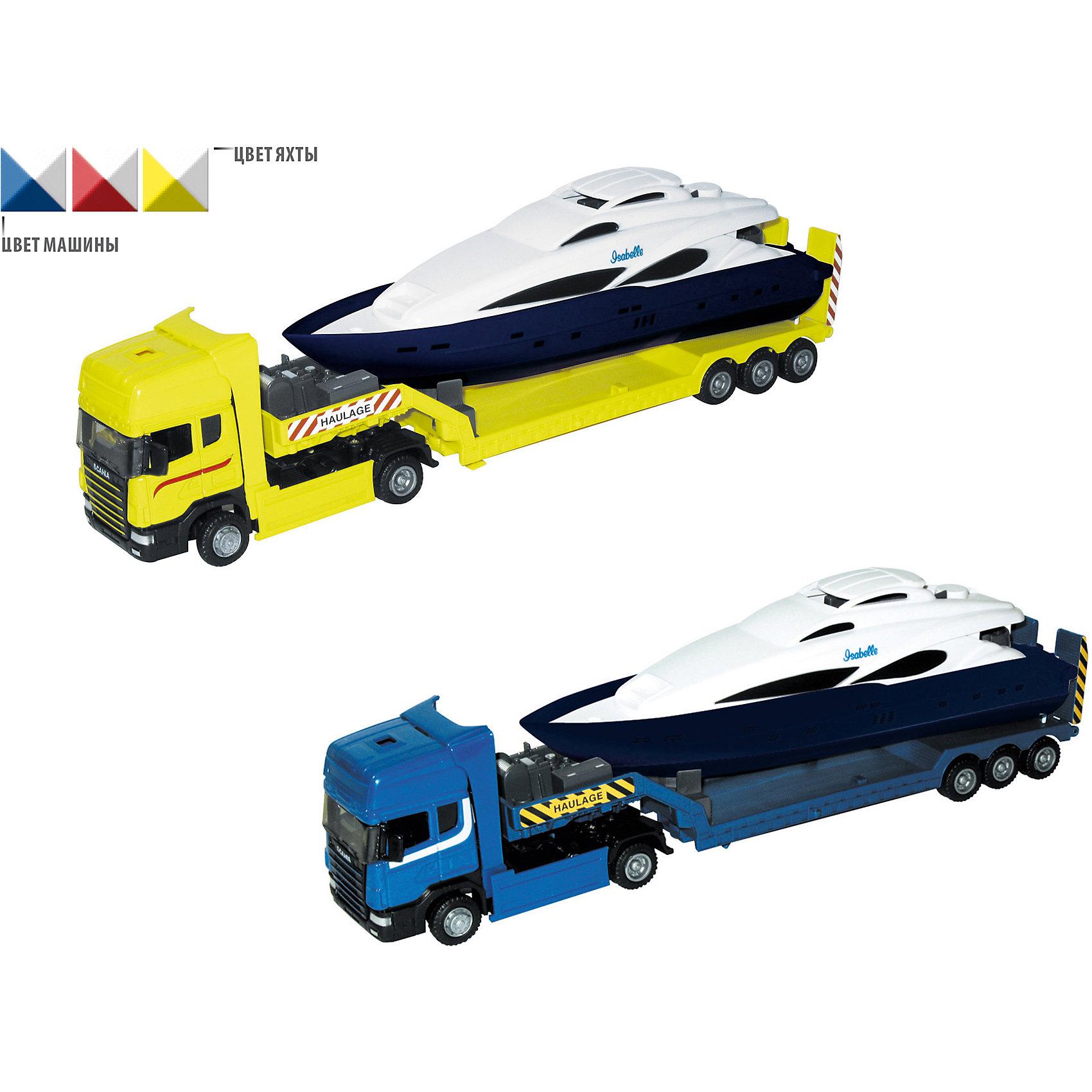 Машинка Scania с яхтой 1:48, AutotimeМашинки<br>Характеристики товара:<br><br>• цвет: в ассортименте<br>• возраст: от 3 лет<br>• материал: металл, пластик<br>• масштаб: 1:48<br>• яхта в комплекте<br>• инерционный механизм<br>• колеса вращаются<br>• размер упаковки: 35х6х11 см<br>• вес с упаковкой: 300 г<br>• страна бренда: Россия, Китай<br>• страна изготовитель: Китай<br><br>Эта машинка представляет собой миниатюрную копию грузовой машины с яхтой. Она отличается высокой детализацией, является коллекционной моделью. <br><br>Сделана машинка из прочного и безопасного материала. Корпус - из металла и пластика. <br><br>Машинку «Scania с яхтой 1:48», Autotime (Автотайм) можно купить в нашем интернет-магазине.<br><br>Ширина мм: 362<br>Глубина мм: 114<br>Высота мм: 146<br>Вес г: 15<br>Возраст от месяцев: 36<br>Возраст до месяцев: 2147483647<br>Пол: Мужской<br>Возраст: Детский<br>SKU: 5584139