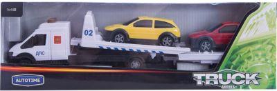 Машинка Recovery Truck Long эвакуатор с прицепом полиция 1:48, Autotime