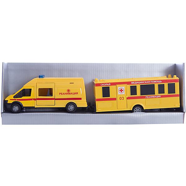 Машинка Rescue Van скорая помощь с прицепом 1:48, AutotimeМашинки<br>Характеристики товара:<br><br>• цвет: желтый<br>• возраст: от 3 лет<br>• материал: металл, пластик<br>• масштаб: 1:48<br>• комплектация: машина, прицеп<br>• инерционная<br>• колеса вращаются<br>• размер упаковки: 35х6х11 см<br>• вес с упаковкой: 300 г<br>• страна бренда: Россия, Китай<br>• страна изготовитель: Китай<br><br>Эта модель представляет собой миниатюрную копию реально существующей машины скорой помощи с прицепом. Она отличается высокой детализацией, является коллекционной моделью. <br><br>Сделана машинка из прочного и безопасного материала. Корпус - из металла и пластика.<br><br>Машинку «Rescue Van скорая помощь с прицепом 1:48», Autotime (Автотайм) можно купить в нашем интернет-магазине.<br>Ширина мм: 362; Глубина мм: 114; Высота мм: 146; Вес г: 15; Возраст от месяцев: 36; Возраст до месяцев: 2147483647; Пол: Мужской; Возраст: Детский; SKU: 5584151;