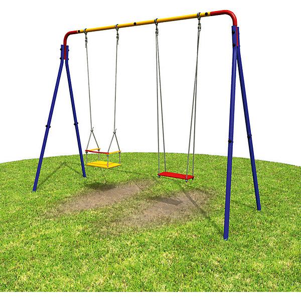 Качели детские, двойные, ROMANAКачели и качалки<br>Характеристики: <br><br>• легкое монтирование дачного комплекса;<br>• А-образная опорная конструкция + 2 качели;<br>• возможность размещения дополнительного оборудования;<br>• материал: металл, дерево, текстиль;<br>• комплектация: перекладина, 2 качели.<br><br>Размеры комплекса (ДхШхВ): 274х102х213 см<br>Размер упаковки: 116х53,5х14 см<br>Вес: 28,2 кг<br><br>Максимальная нагрузка на качели: 50 кг<br><br>Двойные детские качели для дачи или дворовой площадки. Качели с деревянным сиденьем, опорная металлическая конструкция. Длина перекладины дает возможность оснащать спортивный комплект дополнительным оборудованием.<br><br>Качели детские, двойные, ROMANA можно купить в нашем интернет-магазине.<br>Ширина мм: 1160; Глубина мм: 535; Высота мм: 140; Вес г: 28200; Возраст от месяцев: 36; Возраст до месяцев: 2147483647; Пол: Унисекс; Возраст: Детский; SKU: 5584499;