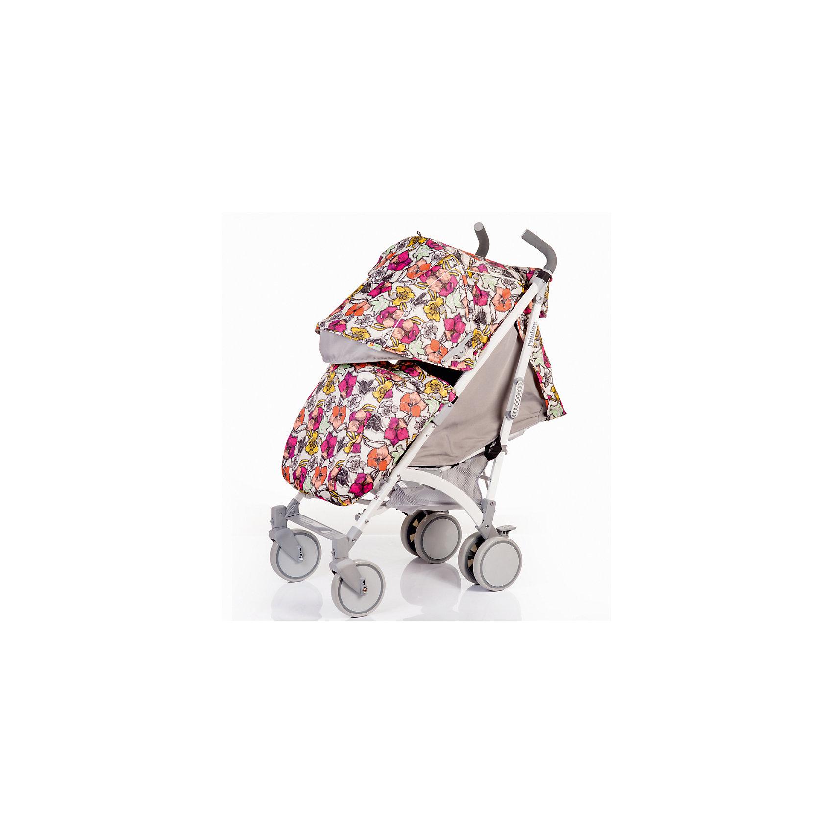 Коляска-трость BabyHit Rainbow, цветочныйКоляски-трости<br>Обновленная коляска-трость Babyhit Rainbow:<br><br>Прогулочная коляска-трость предназначена для детей от 6-ти месяцев до 3-х лет.<br>Спинка сиденья регулируется в 3-х положениях для комфортного отдыха ребенка.<br>5-ти точечные ремни безопасности с мягкими плечевыми накладками и паховый ремень надежно удержат малыша на прогулке.<br>Бампер предназначен для дополнительной безопасности, снимается при необходимости.<br>Подножка регулируемая.<br>Капюшон-батискаф опускается до бампера.<br>Передние поворотные колеса с возможностью фиксации в положении прямо.<br>Все колеса амортизированы.<br>В сложенном виде коляску легко переносить с помощью удобной ручки.<br>Коляска автоматически блокируется при складывании.<br>Корзинка для покупок расположена в нижней части коляски.<br>Размеры коляски в разложенном виде: 85/43/108 см.<br>Ширина сиденья: 35 см.<br>Высота спинки: 47 см.<br>Глубина сиденья: 25 см.<br>Длина подножки: 13 см.<br>Размер спального места при поднятой подножке - 85 х 35 см.  <br>Диаметр колес: 18 см.<br>Вес коляски - 7,4 кг.<br>В комплекте:<br>Чехол для ножек. <br>Дождевик.<br>Москитная сетка.<br>Корзинка для покупок.<br>Сумочка на ручках<br>Отличительные особенности обновленной Babyhit Rainbow: увеличенный по длине полог, полностью съемная ткань (чехол), эргономичные полиуретановые ручки.<br><br>Ширина мм: 260<br>Глубина мм: 250<br>Высота мм: 900<br>Вес г: 10000<br>Цвет: mehrfarbig<br>Возраст от месяцев: 6<br>Возраст до месяцев: 36<br>Пол: Женский<br>Возраст: Детский<br>SKU: 5584578