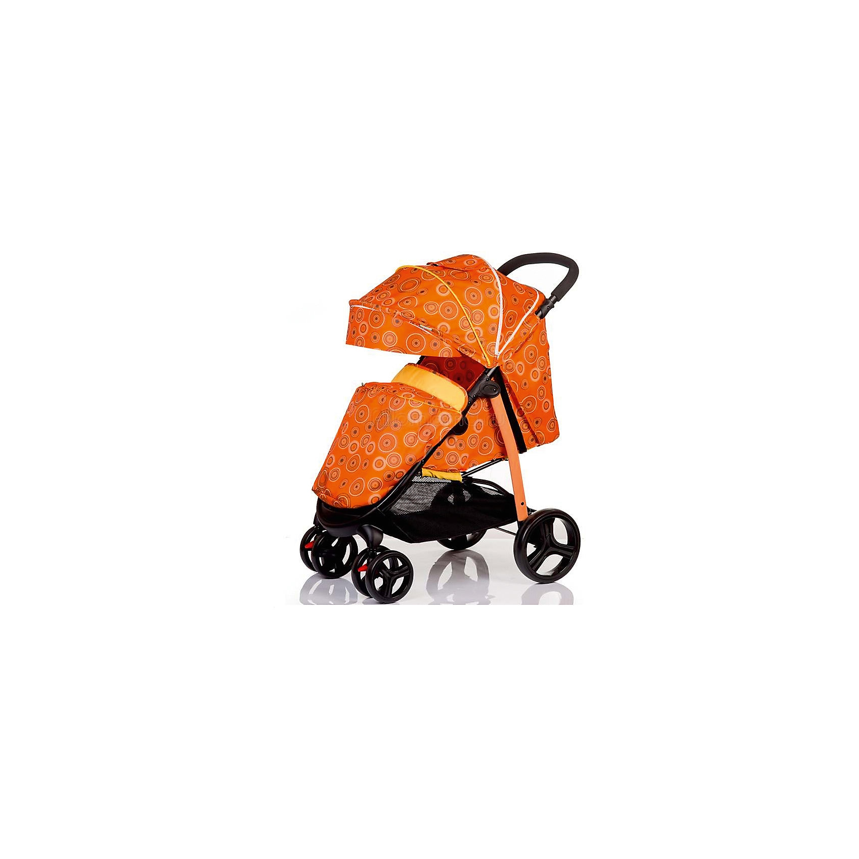 Прогулочная коляска BabyHit Racy Cirles, оранжевыйПрогулочные коляски<br>Характеристики коляски<br><br>Прогулочный блок:<br><br>• горизонтальное положение спинки, угол наклона 170 градусов;<br>• подножка регулируется и удлиняет спальное место;<br>• имеется анатомический вкладыш с мягким подголовником;<br>• 5-ти точечные ремни безопасности;<br>• съемный защитный бампер с паховым ограничителем;<br>• капюшон-батискаф, опускается до бамера;<br>• калюшон оснащен солнцезащитным козырьком, смотровым окошком под клапаном и кармашком на липучке;<br>• пластиковая подножка для подросшего малыша;<br>• в комплект входит чехол на ножки и москитная сетка;<br>• материал: пластик, полиэстер;<br>• длина спального места: 75 см;<br>• ширина сиденья: 34 см<br>• высота спинки: 40 см;<br>• глубина сиденья: 22 см.<br><br>Рама коляски:<br><br>• коляска складывается вместе с прогулочным блоком по типу книжки;<br>• имеется корзина для покупок;<br>• плавающие передние колеса с фиксаторами;<br>• диаметр колес: 16,8 см, 24,8 см;<br>• материал колес: псевдорезина;<br>• материал рамы: алюминий.<br><br>Размер коляски: 85х58х105 см<br>Размер коляски в сложенном виде: 88х58х35 см<br>Вес коляски: 9,2 кг<br>Размер упаковки: 78х45х27 см<br>Вес в упаковке: 10 кг<br><br>Прогулочную коляску RACY, Babyhit, оранжевую можно купить в нашем интернет-магазине.<br><br>Ширина мм: 450<br>Глубина мм: 275<br>Высота мм: 780<br>Вес г: 10000<br>Возраст от месяцев: 6<br>Возраст до месяцев: 36<br>Пол: Унисекс<br>Возраст: Детский<br>SKU: 5585777