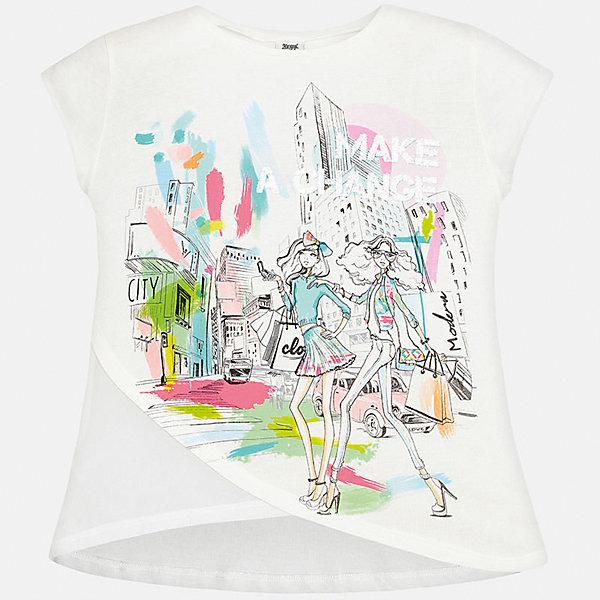 Футболка для девочки MayoralФутболки, поло и топы<br>Характеристики товара:<br><br>• цвет: белый<br>• состав: 50% хлопок, 50% модал<br>• принт<br>• сложный крой<br>• короткие рукава<br>• округлый горловой вырез<br>• коллекция: весна-лето 2017<br>• страна бренда: Испания<br><br>Стильная качественная футболка для девочки поможет разнообразить гардероб ребенка и украсить наряд. В составе ткани преобладает натуральный хлопок, гипоаллергенный, приятный на ощупь, дышащий.<br><br>Футболку для девочки от испанского бренда Mayoral (Майорал) можно купить в нашем интернет-магазине.<br><br>Ширина мм: 199<br>Глубина мм: 10<br>Высота мм: 161<br>Вес г: 151<br>Цвет: зеленый<br>Возраст от месяцев: 96<br>Возраст до месяцев: 108<br>Пол: Женский<br>Возраст: Детский<br>Размер: 128/134,158,140,152<br>SKU: 5587399