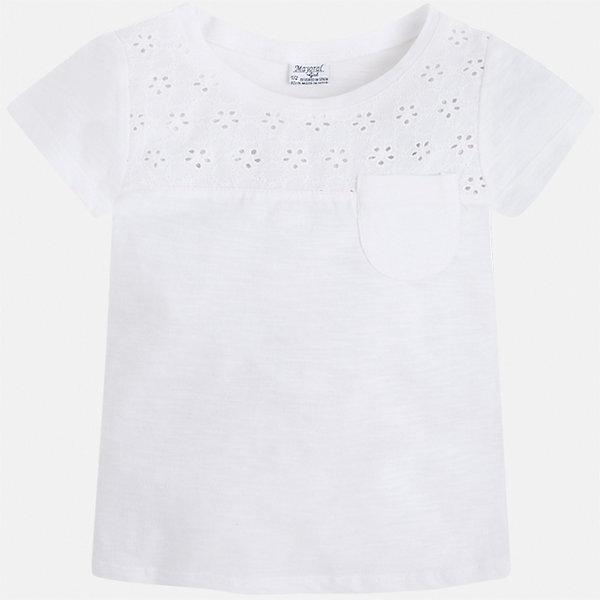 Футболка для девочки MayoralФутболки, поло и топы<br>Характеристики товара:<br><br>• цвет: белый<br>• состав: 100% хлопок<br>• карман<br>• ажурный верх<br>• короткие рукава<br>• округлый горловой вырез<br>• страна бренда: Испания<br><br>Стильная качественная футболка для девочки поможет разнообразить гардероб ребенка и украсить наряд. В составе ткани преобладает натуральный хлопок, гипоаллергенный, приятный на ощупь, дышащий.<br><br>Футболку для девочки от испанского бренда Mayoral (Майорал) можно купить в нашем интернет-магазине.<br><br>Ширина мм: 199<br>Глубина мм: 10<br>Высота мм: 161<br>Вес г: 151<br>Цвет: белый<br>Возраст от месяцев: 60<br>Возраст до месяцев: 72<br>Пол: Женский<br>Возраст: Детский<br>Размер: 116,98,122,110,104<br>SKU: 5587404