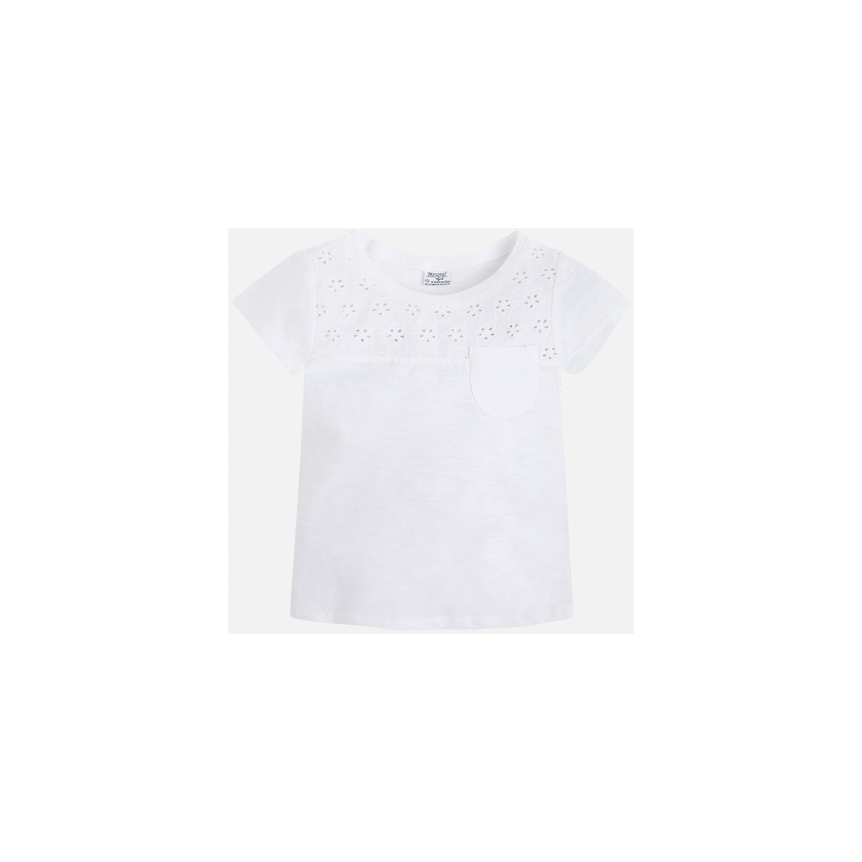 Футболка для девочки MayoralФутболки, поло и топы<br>Характеристики товара:<br><br>• цвет: белый<br>• состав: 100% хлопок<br>• карман<br>• ажурный верх<br>• короткие рукава<br>• округлый горловой вырез<br>• страна бренда: Испания<br><br>Стильная качественная футболка для девочки поможет разнообразить гардероб ребенка и украсить наряд. В составе ткани преобладает натуральный хлопок, гипоаллергенный, приятный на ощупь, дышащий.<br><br>Футболку для девочки от испанского бренда Mayoral (Майорал) можно купить в нашем интернет-магазине.<br><br>Ширина мм: 199<br>Глубина мм: 10<br>Высота мм: 161<br>Вес г: 151<br>Цвет: белый<br>Возраст от месяцев: 24<br>Возраст до месяцев: 36<br>Пол: Женский<br>Возраст: Детский<br>Размер: 110,116,98,122,104<br>SKU: 5587404