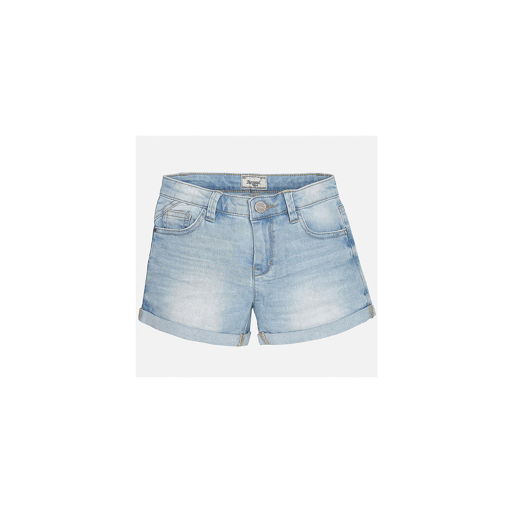Шорты джинсовые для девочки MayoralДжинсовая одежда<br>Характеристики товара:<br><br>• цвет: голубой<br>• состав: 98% хлопок, 23% эластан<br>• эффект потертостей<br>• шлевки<br>• карманы<br>• пояс с регулировкой объема<br>• классический силуэт<br>• страна бренда: Испания<br><br>Классические шорты для девочки смогут стать базовой вещью в гардеробе ребенка. В составе материала - натуральный хлопок, гипоаллергенный, приятный на ощупь, дышащий.<br><br>Шорты для девочки от испанского бренда Mayoral (Майорал) можно купить в нашем интернет-магазине.<br><br>Ширина мм: 191<br>Глубина мм: 10<br>Высота мм: 175<br>Вес г: 273<br>Цвет: голубой<br>Возраст от месяцев: 132<br>Возраст до месяцев: 144<br>Пол: Женский<br>Возраст: Детский<br>Размер: 152,158,128/134,140<br>SKU: 5587410