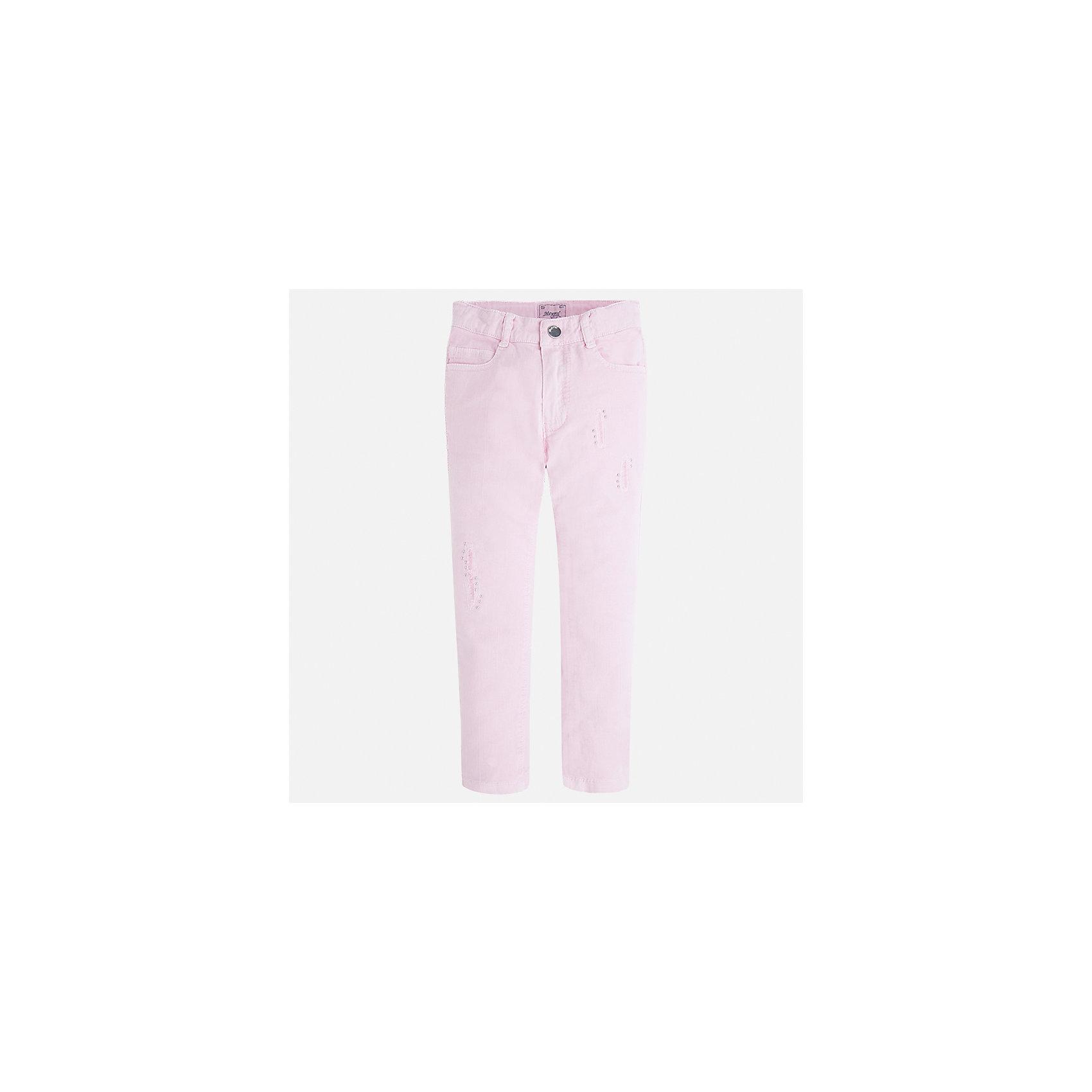 Брюки для девочки MayoralБрюки<br>Характеристики товара:<br><br>• цвет: розовый<br>• состав: 98% хлопок, 2% эластан<br>• шлевки<br>• карманы<br>• пояс с регулировкой объема<br>• прямой силуэт<br>• коллекция: весна-лето 2017<br>• страна бренда: Испания<br><br>Модные легкие брюки для девочки смогут разнообразить гардероб ребенка и украсить наряд. Интересный крой модели делает её нарядной и оригинальной. <br><br>Брюки для девочки от испанского бренда Mayoral (Майорал) можно купить в нашем интернет-магазине.<br><br>Ширина мм: 215<br>Глубина мм: 88<br>Высота мм: 191<br>Вес г: 336<br>Цвет: лиловый<br>Возраст от месяцев: 24<br>Возраст до месяцев: 36<br>Пол: Женский<br>Возраст: Детский<br>Размер: 98,116,122,104,110<br>SKU: 5587452