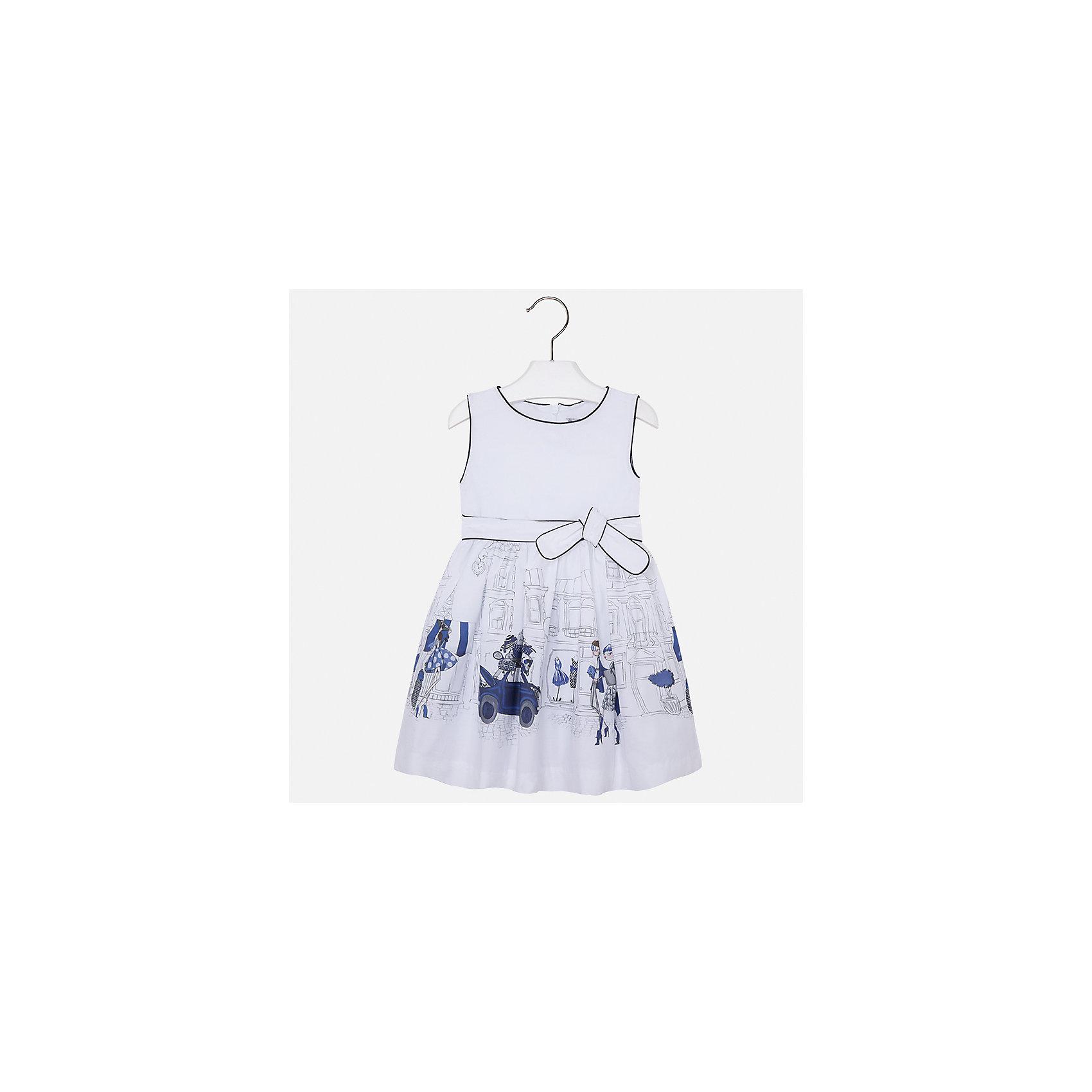 Платье для девочки MayoralОдежда<br>Характеристики товара:<br><br>• цвет: белый<br>• состав: 97% хлопок, 3% эластан, подкладка - 65% полиэстер, 35% хлопок<br>• пышный подол<br>• сзади молния<br>• без рукавов<br>• принт<br>• страна бренда: Испания<br><br>Красивое легкое платье для девочки поможет разнообразить гардероб ребенка и создать эффектный наряд. Оно подойдет и для торжественных случаев, может быть и как ежедневный наряд. В составе материала подкладки - натуральный хлопок, гипоаллергенный, приятный на ощупь, дышащий. Платье хорошо сидит по фигуре.<br><br>Платье для девочки от испанского бренда Mayoral (Майорал) можно купить в нашем интернет-магазине.<br><br>Ширина мм: 236<br>Глубина мм: 16<br>Высота мм: 184<br>Вес г: 177<br>Цвет: синий<br>Возраст от месяцев: 24<br>Возраст до месяцев: 36<br>Пол: Женский<br>Возраст: Детский<br>Размер: 98,122,116,110,104<br>SKU: 5587458