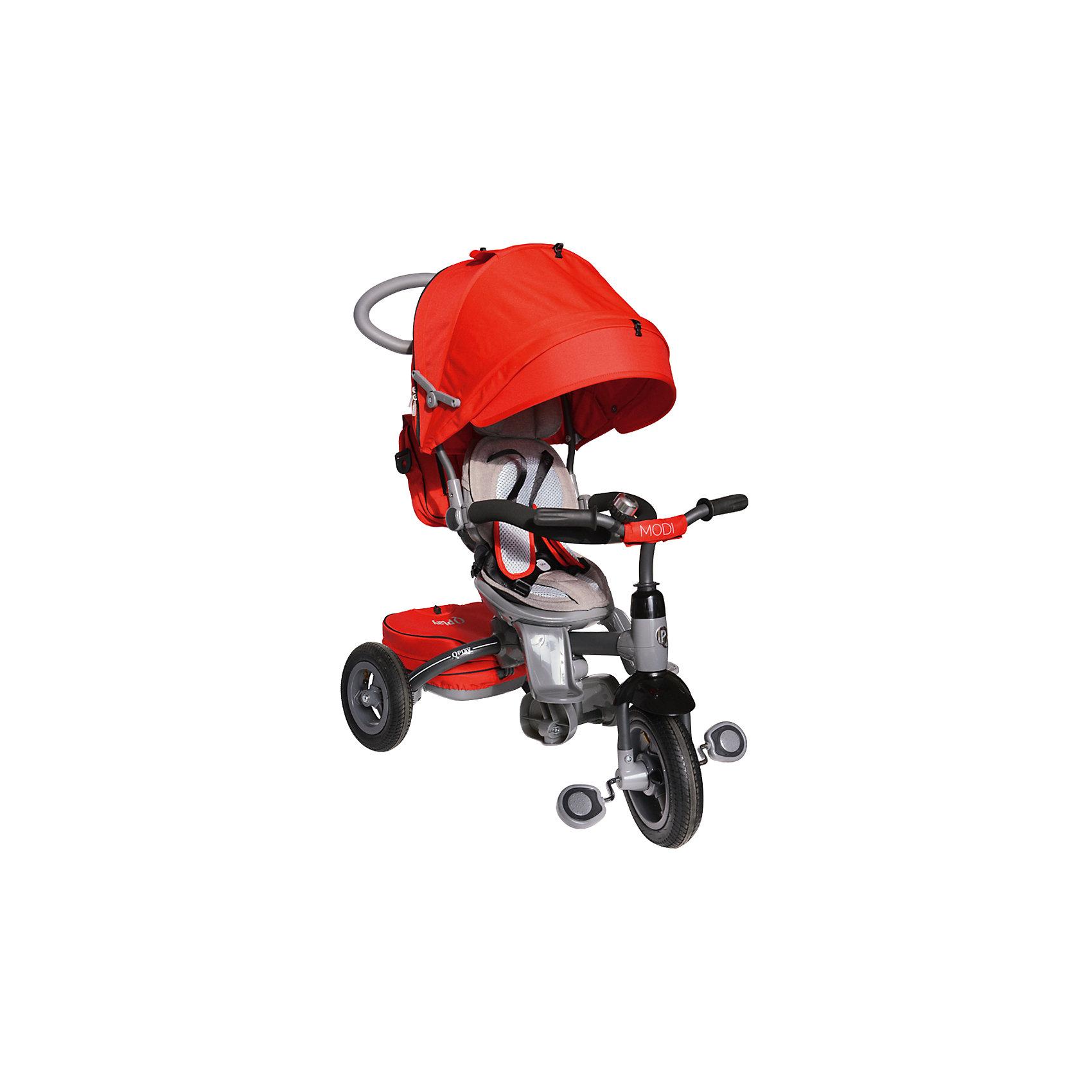 Трехколесный велосипед Modi Q-Play, красныйВелосипеды детские<br>Характеристики товара:<br><br>• возраст: от 6 месяцев;<br>• максимальная нагрузка: до 30 кг;<br>• материал: пластик, алюминий, полиэстер;<br>• регулировка ручки-толкателя;<br>• регулировка наклона спинки;<br>• 3-х точечные ремни безопасности;<br>• регулируемый съемный капюшон со смотровым окном;<br>• поворотное на 360 градусов сидение;<br>• функции блокировки руля и педалей;<br>• тип колес: надувные резиновые;<br>• диаметр переднего колеса: 10 дюймов, заднего колеса: 8 дюймов;<br>• тормоз на задних колесах;<br>• вес велосипеда: 10 кг;<br>• размер упаковки: 70х41х32 см;<br>• вес упаковки: 10,6 кг;<br>• страна производитель: Китай.<br><br>Трехколесный велосипед Modi Q-Play красный — удивительное транспортное средство для малыша, выполняющее сразу 2 функции — коляски и велосипеда. Для самых маленьких используется как коляска, которой мама управляет при помощи ручки-толкателя. <br><br>На время использования велосипеда в качестве коляски педали и руль ребенка блокируются, чтобы он не мог управлять транспортным средством. Как только малыш подрастет, он может кататься самостоятельно на велосипеде и активно проводить время на прогулке.<br><br>Для комфортного сидения малыша предусмотрен мягкий чехол и подголовник, а спинка опускается в нескольких положениях. На конструкции имеется 2 типа подножек: одна для маленького ребенка, которая выдвигается по необходимости, вторая для подрастающего ребенка, расположенная ниже. <br><br>Сидение поворачивается на 360 градусов, и малыш оказывается лицом к маме. Капюшон регулируется и защищает от непогоды и солнечных лучей. При использовании велосипеда капюшон убирается полностью. Необходимые на прогулке вещи и игрушки можно положить в корзину или сумку, которая закреплена на родительской ручке.<br><br>Рама выполнена из прочного облегченного алюминия. Надувные колеса делают ход плавным даже по бездорожью. На задних колесах расположен тормоз для фиксации во время остановки.<br>