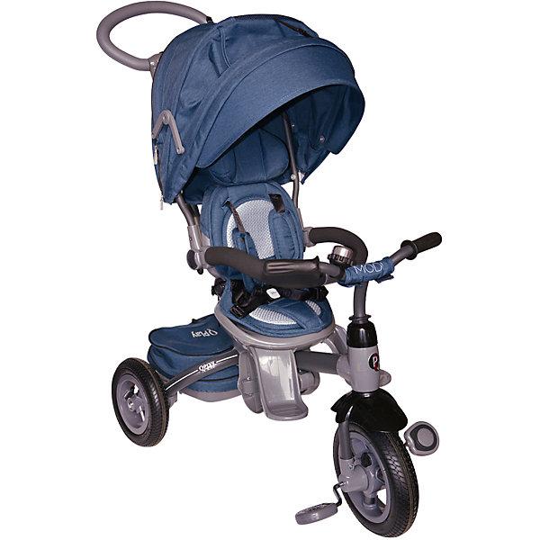 Трехколесный велосипед Modi Q-Play, синийВелосипеды детские<br>Характеристики товара:<br><br>• возраст: от 6 месяцев;<br>• максимальная нагрузка: до 30 кг;<br>• материал: пластик, алюминий, полиэстер;<br>• регулировка ручки-толкателя;<br>• регулировка наклона спинки;<br>• 3-х точечные ремни безопасности;<br>• регулируемый съемный капюшон со смотровым окном;<br>• поворотное на 360 градусов сидение;<br>• функции блокировки руля и педалей;<br>• тип колес: надувные резиновые;<br>• диаметр переднего колеса: 10 дюймов, заднего колеса: 8 дюймов;<br>• тормоз на задних колесах;<br>• вес велосипеда: 10 кг;<br>• размер упаковки: 70х41х32 см;<br>• вес упаковки: 10,6 кг;<br>• страна производитель: Китай.<br><br>Трехколесный велосипед Modi Q-Play синий — удивительное транспортное средство для малыша, выполняющее сразу 2 функции — коляски и велосипеда. Для самых маленьких используется как коляска, которой мама управляет при помощи ручки-толкателя. <br><br>На время использования велосипеда в качестве коляски педали и руль ребенка блокируются, чтобы он не мог управлять транспортным средством. Как только малыш подрастет, он может кататься самостоятельно на велосипеде и активно проводить время на прогулке.<br><br>Для комфортного сидения малыша предусмотрен мягкий чехол и подголовник, а спинка опускается в нескольких положениях. На конструкции имеется 2 типа подножек: одна для маленького ребенка, которая выдвигается по необходимости, вторая для подрастающего ребенка, расположенная ниже. <br><br>Сидение поворачивается на 360 градусов, и малыш оказывается лицом к маме. Капюшон регулируется и защищает от непогоды и солнечных лучей. При использовании велосипеда капюшон убирается полностью. Необходимые на прогулке вещи и игрушки можно положить в корзину или сумку, которая закреплена на родительской ручке.<br><br>Рама выполнена из прочного облегченного алюминия. Надувные колеса делают ход плавным даже по бездорожью. На задних колесах расположен тормоз для фиксации во время остановки.<br><br>