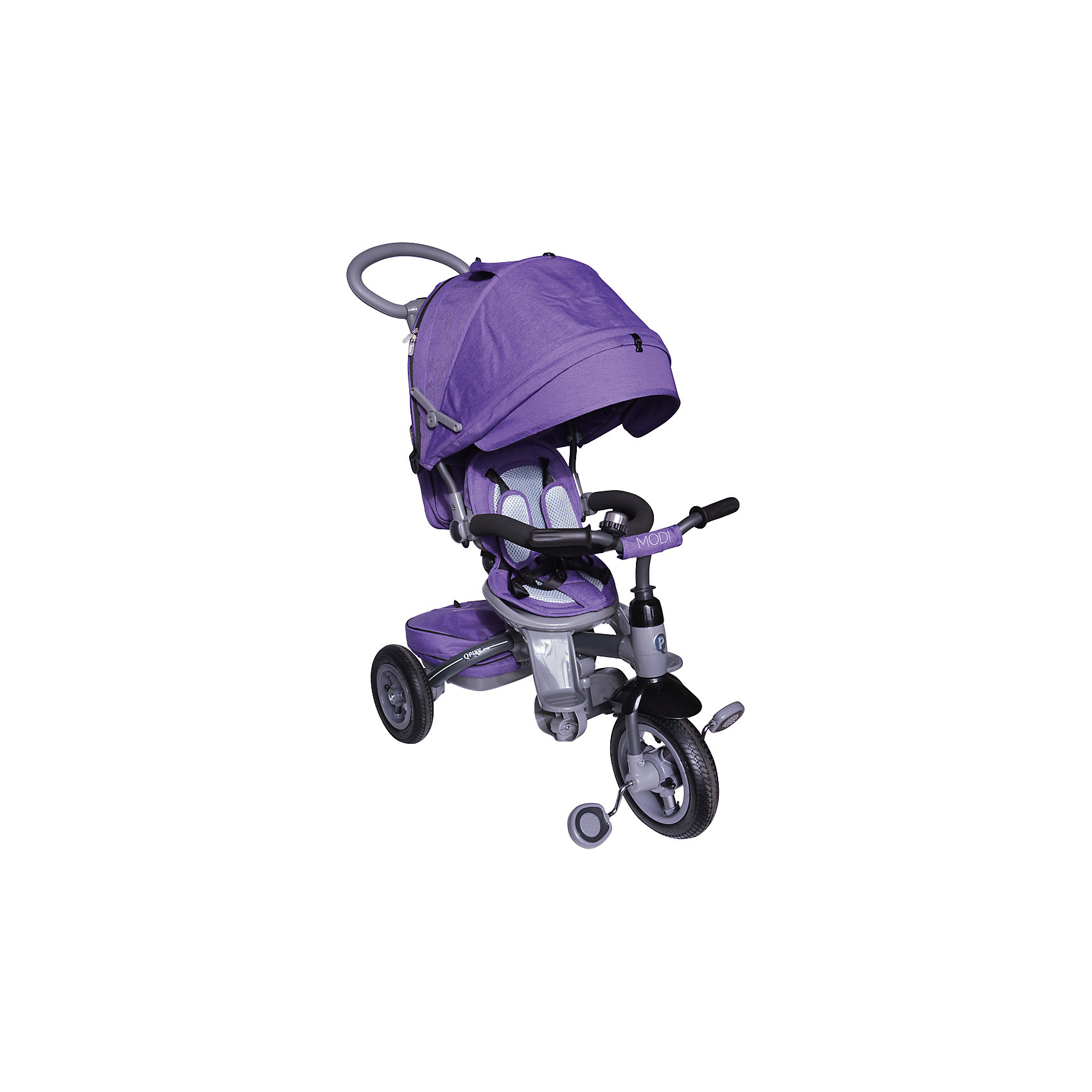 Трехколесный велосипед Modi Q-Play, фиолетовыйВелосипеды детские<br>Характеристики товара:<br><br>• возраст: от 6 месяцев;<br>• максимальная нагрузка: до 30 кг;<br>• материал: пластик, алюминий, полиэстер;<br>• регулировка ручки-толкателя;<br>• регулировка наклона спинки;<br>• 3-х точечные ремни безопасности;<br>• регулируемый съемный капюшон со смотровым окном;<br>• поворотное на 360 градусов сидение;<br>• функции блокировки руля и педалей;<br>• тип колес: надувные резиновые;<br>• диаметр переднего колеса: 10 дюймов, заднего колеса: 8 дюймов;<br>• тормоз на задних колесах;<br>• вес велосипеда: 10 кг;<br>• размер упаковки: 70х41х32 см;<br>• вес упаковки: 10,6 кг;<br>• страна производитель: Китай.<br><br>Трехколесный велосипед Modi Q-Play фиолетовый — удивительное транспортное средство для малыша, выполняющее сразу 2 функции — коляски и велосипеда. Для самых маленьких используется как коляска, которой мама управляет при помощи ручки-толкателя. <br><br>На время использования велосипеда в качестве коляски педали и руль ребенка блокируются, чтобы он не мог управлять транспортным средством. Как только малыш подрастет, он может кататься самостоятельно на велосипеде и активно проводить время на прогулке.<br><br>Для комфортного сидения малыша предусмотрен мягкий чехол и подголовник, а спинка опускается в нескольких положениях. На конструкции имеется 2 типа подножек: одна для маленького ребенка, которая выдвигается по необходимости, вторая для подрастающего ребенка, расположенная ниже. <br><br>Сидение поворачивается на 360 градусов, и малыш оказывается лицом к маме. Капюшон регулируется и защищает от непогоды и солнечных лучей. При использовании велосипеда капюшон убирается полностью. Необходимые на прогулке вещи и игрушки можно положить в корзину или сумку, которая закреплена на родительской ручке.<br><br>Рама выполнена из прочного облегченного алюминия. Надувные колеса делают ход плавным даже по бездорожью. На задних колесах расположен тормоз для фиксации во время остановк