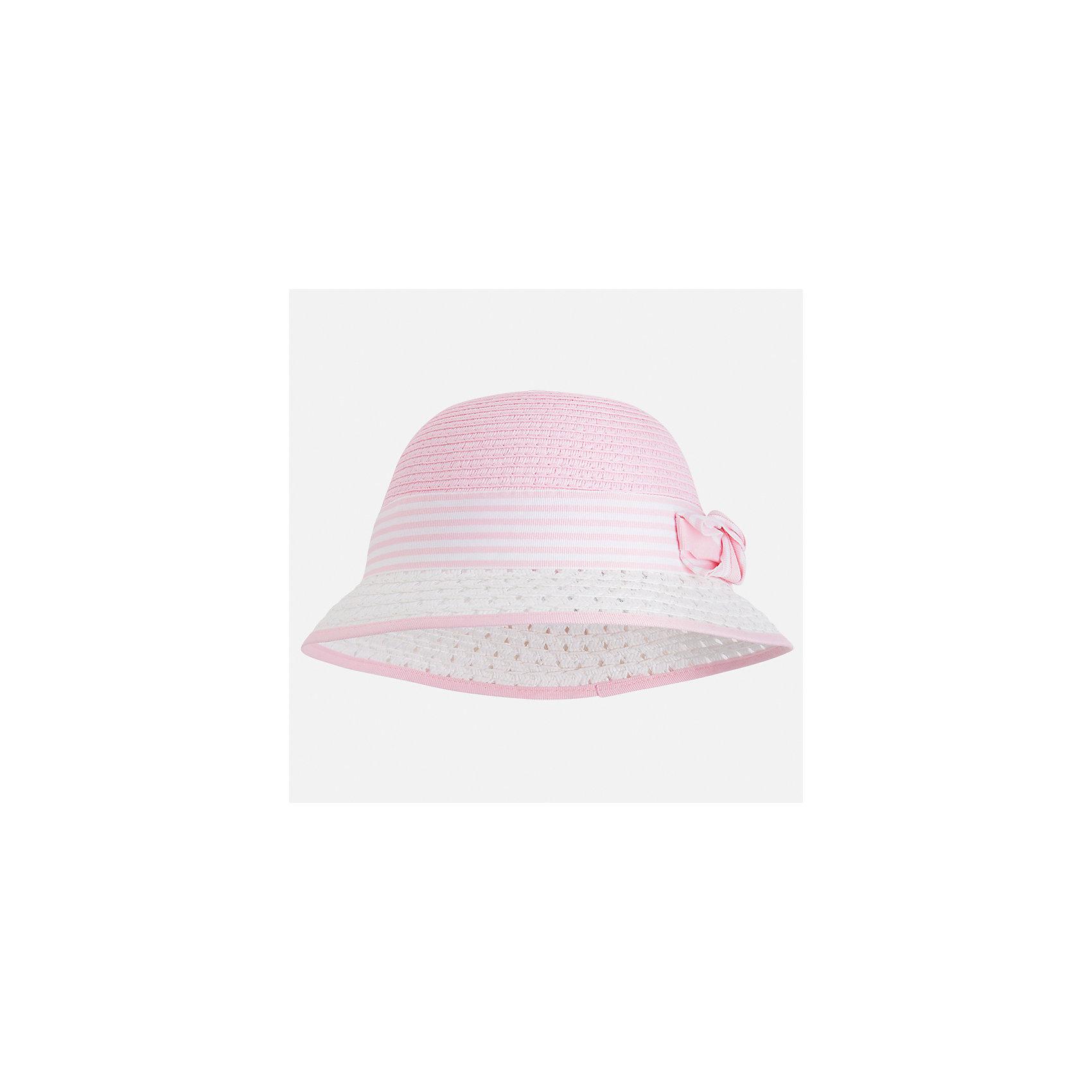 Шляпа для девочки MayoralГоловные уборы<br>Характеристики товара:<br><br>• цвет: розовый/белый<br>• состав: 100% бумага<br>• легкий материал<br>• дышащая<br>• комфортная посадка<br>• декорирована бантом<br>• страна бренда: Испания<br><br>Головной убор может быть удобным и красивым! Эта шляпа для девочки не только хорошо сидит на ребенке. Сделана из легкого материала. Интересная отделка модели делает её нарядной и оригинальной. <br><br>Шляпу для девочки от испанского бренда Mayoral (Майорал) можно купить в нашем интернет-магазине.<br><br>Ширина мм: 89<br>Глубина мм: 117<br>Высота мм: 44<br>Вес г: 155<br>Цвет: фиолетовый<br>Возраст от месяцев: 72<br>Возраст до месяцев: 84<br>Пол: Женский<br>Возраст: Детский<br>Размер: 54,52<br>SKU: 5587624