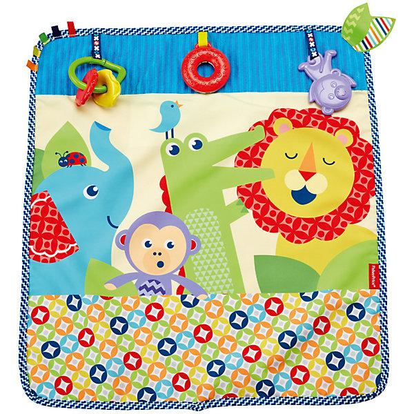 Мягкое одеяло Fisher-Price «Пойдем на прогулку»Развивающие коврики<br>Характеристики товара:<br><br>• возраст: с рождения<br>• материал: текстиль<br>• размер одеялка: 40х60 см;<br>• страна бренда: США<br><br>Яркая расцветка и комбинация разных текстур, которые так интересно пробовать на ощупь, а также три игрушки: малыш сможет долго исследовать это одеяло, и оно ему точно не наскучит. <br><br>Матерчатый держатель позволит надежно прикрепить одеяло к коляске: вам не придется беспокоиться, что оно упадет, когда вы отправитесь вместе со своим малышом на прогулку!<br><br>Мягкое одеяло Fisher-Price «Пойдем на прогулку» можно купить в нашем интернет-магазине.<br>Ширина мм: 285; Глубина мм: 258; Высота мм: 63; Вес г: 420; Возраст от месяцев: 0; Возраст до месяцев: 18; Пол: Женский; Возраст: Детский; SKU: 5587630;