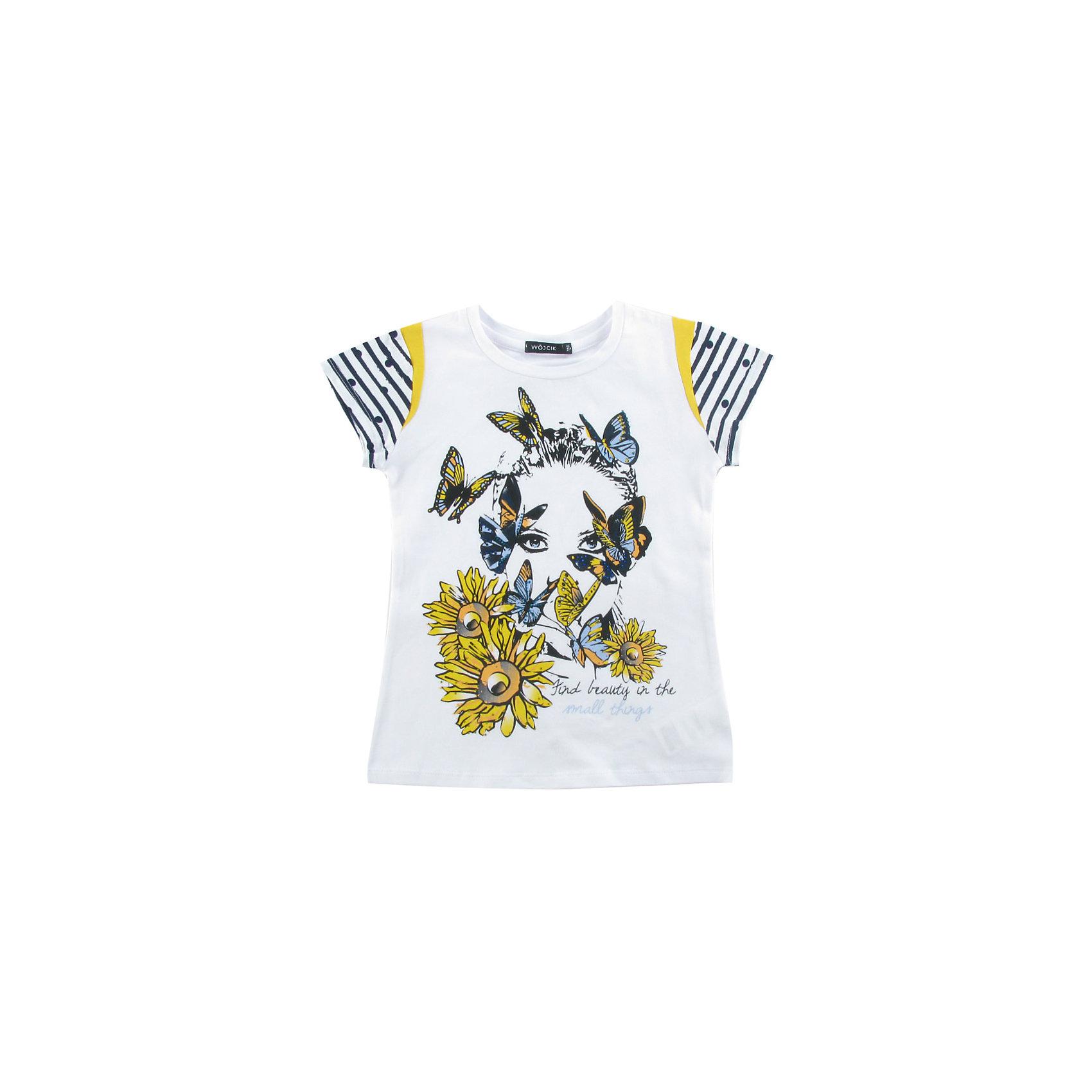 Футболка для девочки WojcikФутболки, поло и топы<br>Характеристики товара:<br><br>• цвет: белый<br>• состав ткани: хлопок 95%, эластан 5%<br>• короткие рукава<br>• сезон: лето<br>• страна бренда: Польша<br>• страна изготовитель: Польша<br><br>Эта модель детской одежды сделана из качественного материала с преобладанием хлопка в составе. Футболка для девочки Wojcik - удобная и модная. <br><br>Белая футболка для девочки Войчик декорирована принтом. Польская одежда для детей от бренда Войчик - это качественные и стильные вещи.<br><br>Футболку для девочки Wojcik (Войчик) можно купить в нашем интернет-магазине.<br><br>Ширина мм: 199<br>Глубина мм: 10<br>Высота мм: 161<br>Вес г: 151<br>Цвет: белый<br>Возраст от месяцев: 36<br>Возраст до месяцев: 48<br>Пол: Женский<br>Возраст: Детский<br>Размер: 104<br>SKU: 5588547