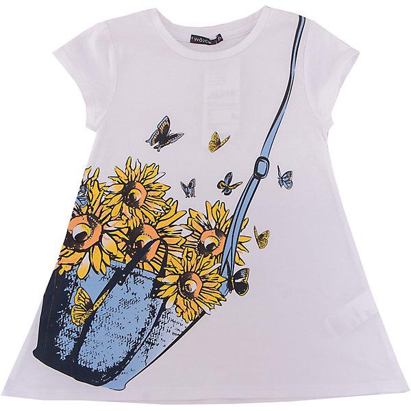 Футболка для девочки WojcikФутболки, поло и топы<br>Характеристики товара:<br><br>• цвет: белый<br>• состав ткани: 94% хлопок, 6% эластан<br>• сезон: лето<br>• короткие рукава<br>• страна бренда: Польша<br>• страна изготовитель: Польша<br><br>Бренд Wojcik - это польская детская одежда отличного качества по доступной цене. Эта трикотажная футболка для детей сделана из мягкого дышащего материала. Белая футболка для девочки Войчик легко надевается. Детская футболка декорирована модным принтом. <br><br>Футболку для девочки Wojcik (Войчик) можно купить в нашем интернет-магазине.<br>Ширина мм: 199; Глубина мм: 10; Высота мм: 161; Вес г: 151; Цвет: белый; Возраст от месяцев: 60; Возраст до месяцев: 72; Пол: Женский; Возраст: Детский; Размер: 116,128,122; SKU: 5588556;