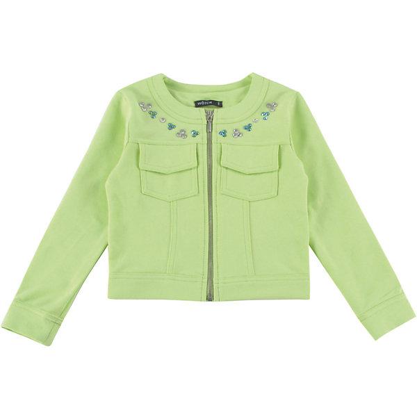 Куртка для девочки WojcikВерхняя одежда<br>Характеристики товара:<br><br>• цвет: зеленый<br>• состав ткани: 97% хлопок, 3% эластан <br>• сезон: демисезон<br>• застежка: молния<br>• длинные рукава<br>• декор: бусинки<br>• страна бренда: Польша<br>• страна изготовитель: Польша<br><br>Эффектная куртка для девочки Войчик отличается модным кроем и актуальным в этом сезоне цветом. Детская куртка удобно застегивается. Куртка для детей - удобная и стильная. Польская детская одежда для детей от бренда Wojcik - это качественные и стильные вещи. <br><br>Куртку для девочки Wojcik (Войчик) можно купить в нашем интернет-магазине.<br><br>Ширина мм: 356<br>Глубина мм: 10<br>Высота мм: 245<br>Вес г: 519<br>Цвет: зеленый<br>Возраст от месяцев: 72<br>Возраст до месяцев: 84<br>Пол: Женский<br>Возраст: Детский<br>Размер: 122,116<br>SKU: 5588594