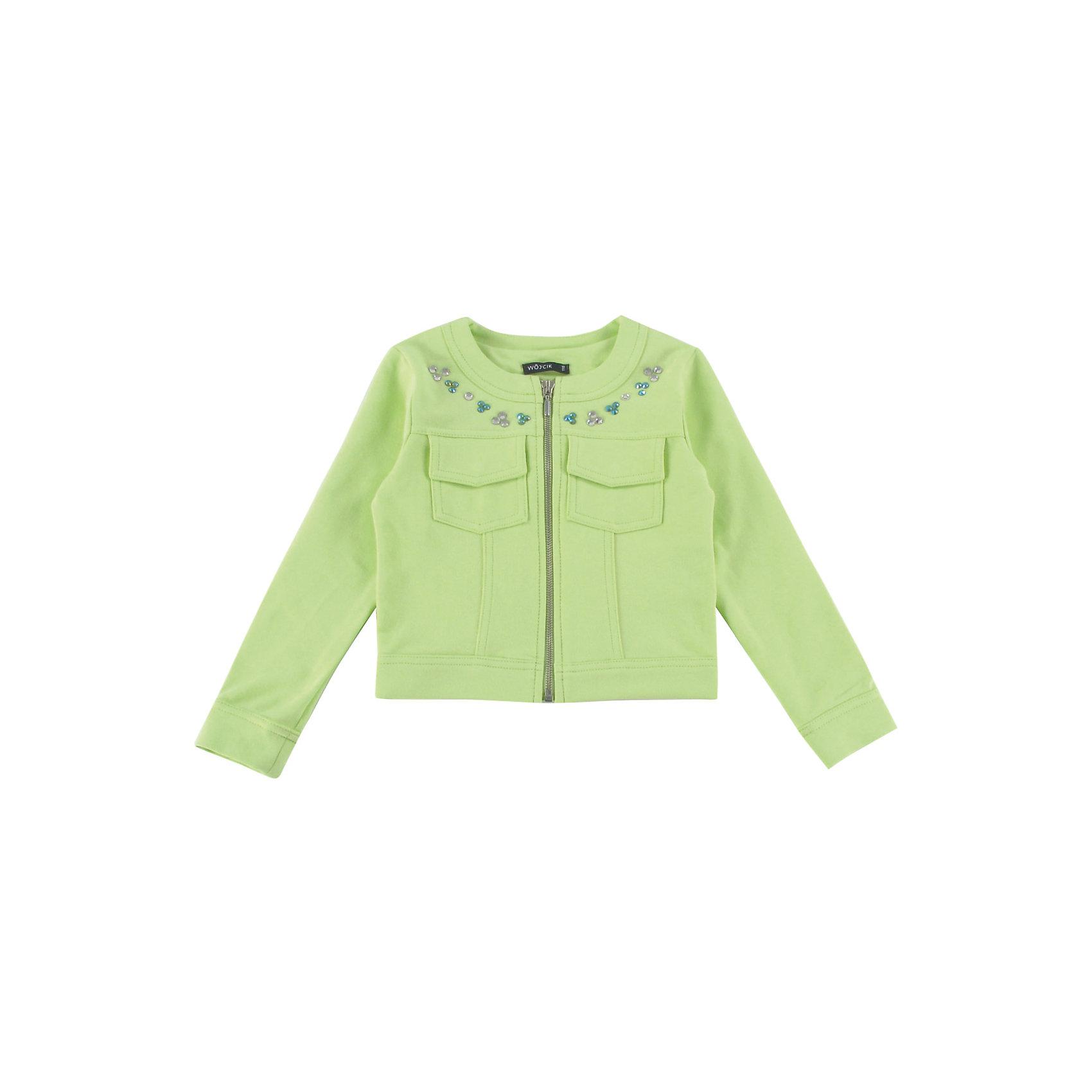 Куртка для девочки WojcikВерхняя одежда<br>Куртка для девочки Wojcik<br>Состав:<br>Хлопок 97% Эластан 3%<br><br>Ширина мм: 356<br>Глубина мм: 10<br>Высота мм: 245<br>Вес г: 519<br>Цвет: зеленый<br>Возраст от месяцев: 72<br>Возраст до месяцев: 84<br>Пол: Женский<br>Возраст: Детский<br>Размер: 122,116<br>SKU: 5588594