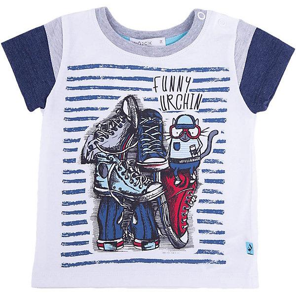 Футболка для мальчика WojcikФутболки, топы<br>Характеристики товара:<br><br>• цвет: белый<br>• состав ткани: 94% хлопок, 6% эластан <br>• сезон: лето<br>• застежка: кнопки<br>• короткие рукава<br>• страна бренда: Польша<br>• страна изготовитель: Польша<br><br>Модная футболка для мальчика Войчик легко надевается благодаря кнопкам. Детская футболка декорирована стильным принтом. Футболка для детей сделана из мягкого трикотажа. Бренд Wojcik - это польская детская одежда отличного качества по доступной цене. <br><br>Футболку для мальчика Wojcik (Войчик) можно купить в нашем интернет-магазине.<br>Ширина мм: 199; Глубина мм: 10; Высота мм: 161; Вес г: 151; Цвет: белый; Возраст от месяцев: 3; Возраст до месяцев: 6; Пол: Мужской; Возраст: Детский; Размер: 68,80,74; SKU: 5588663;
