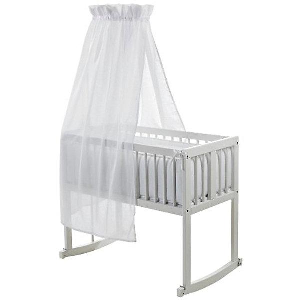 Кроватка-люлька с качалкой Lena, Geuther, белыйКолыбели-люльки для новорожденных<br>Характеристики товара:<br><br>• возраст: с рождения;• материал: дерево, ДСП, текстиль;<br>• в комплекте: кроватка, балдахин, матрас;<br>• размер кроватки: 90х45х85 см;<br>• размер упаковки: 95х50х80 см;<br>• вес упаковки: 12 кг;<br>• страна производитель: Германия.<br><br>Кроватка-люлька с качалкой Lena Geuther белая обеспечит новорожденному крохе комфорт и уютный сон. В комплект входят балдахин, который прикроет малыша для спокойного сна, и мягкий полиуретановый матрасик. Ножки имеют пологое основание, которое позволяет использовать кроватку для укачивания малыша. Специальные металлические скобы крепятся на ножки, чтобы зафиксировать кровать неподвижно. Кроватка выполнена из качественного натурального дерева.<br><br>Кроватку-люльку с качалкой Lena Geuther белую можно приобрести в нашем интернет-магазине.<br>Ширина мм: 950; Глубина мм: 500; Высота мм: 800; Вес г: 12000; Возраст от месяцев: 0; Возраст до месяцев: 6; Пол: Унисекс; Возраст: Детский; SKU: 5589103;